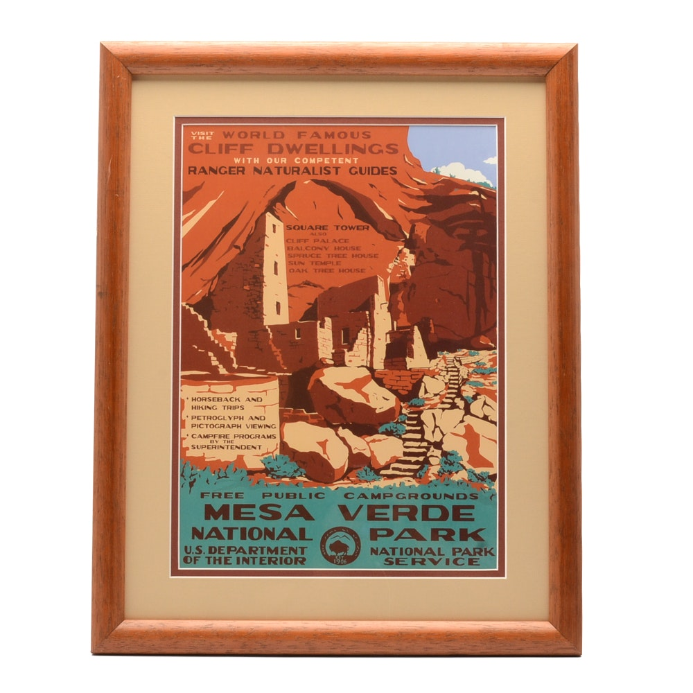 Offset Lithograph Reproduction WPA Travel Poster for Mesa Verde National Park