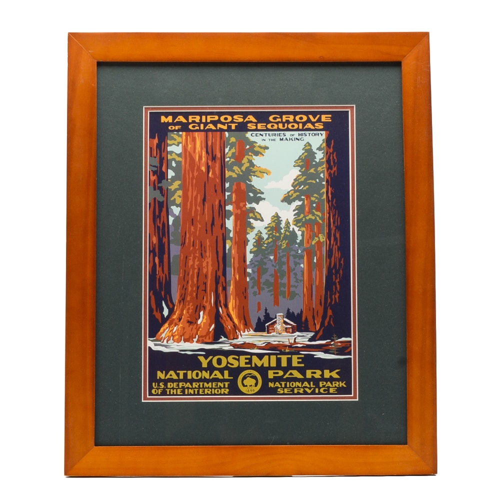 Offset Lithograph Reproduction of Vintage Yosemite National Park Poster