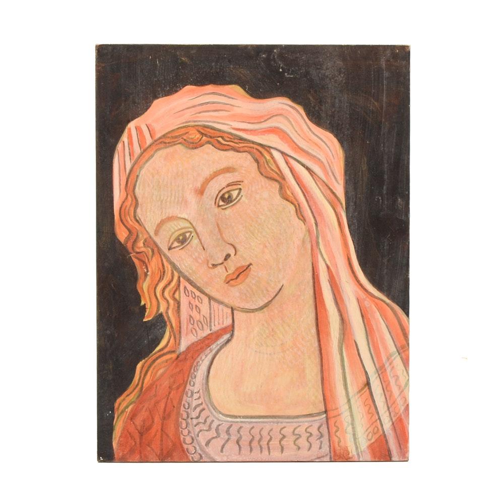 "Carol Mathews Oil Painting on Board after Botticelli ""Primavera"""