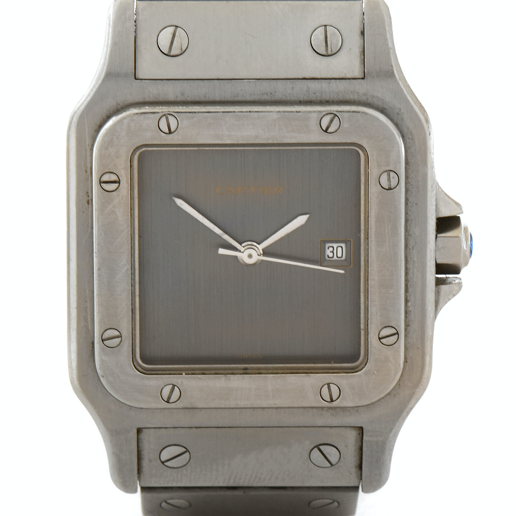 Cartier Santos Stainless Steel Gray Dial Automatic Wristwatch