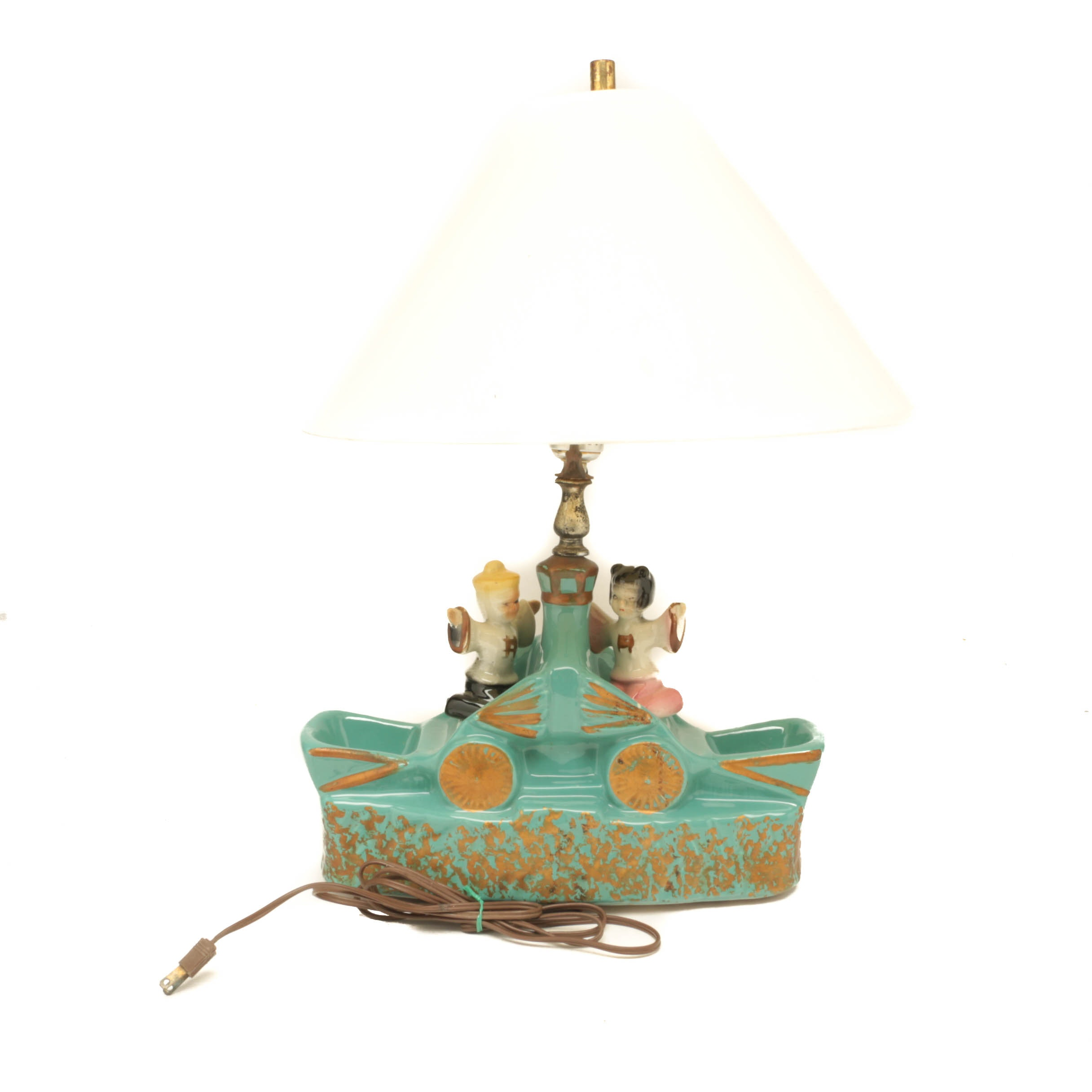 Ceramic Lamp with Japanese Figures