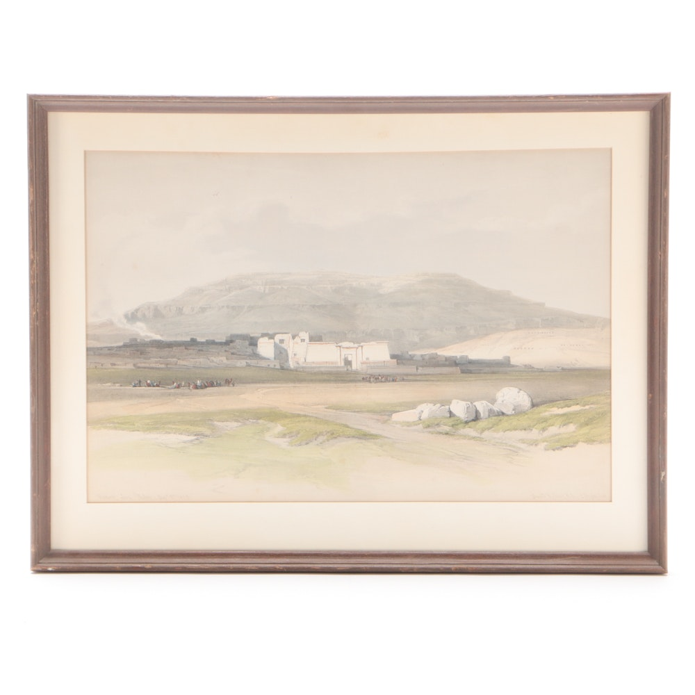 """19th Century Hand-Colored Lithograph after David Roberts """"Medinet Abou, Thebes"""""""