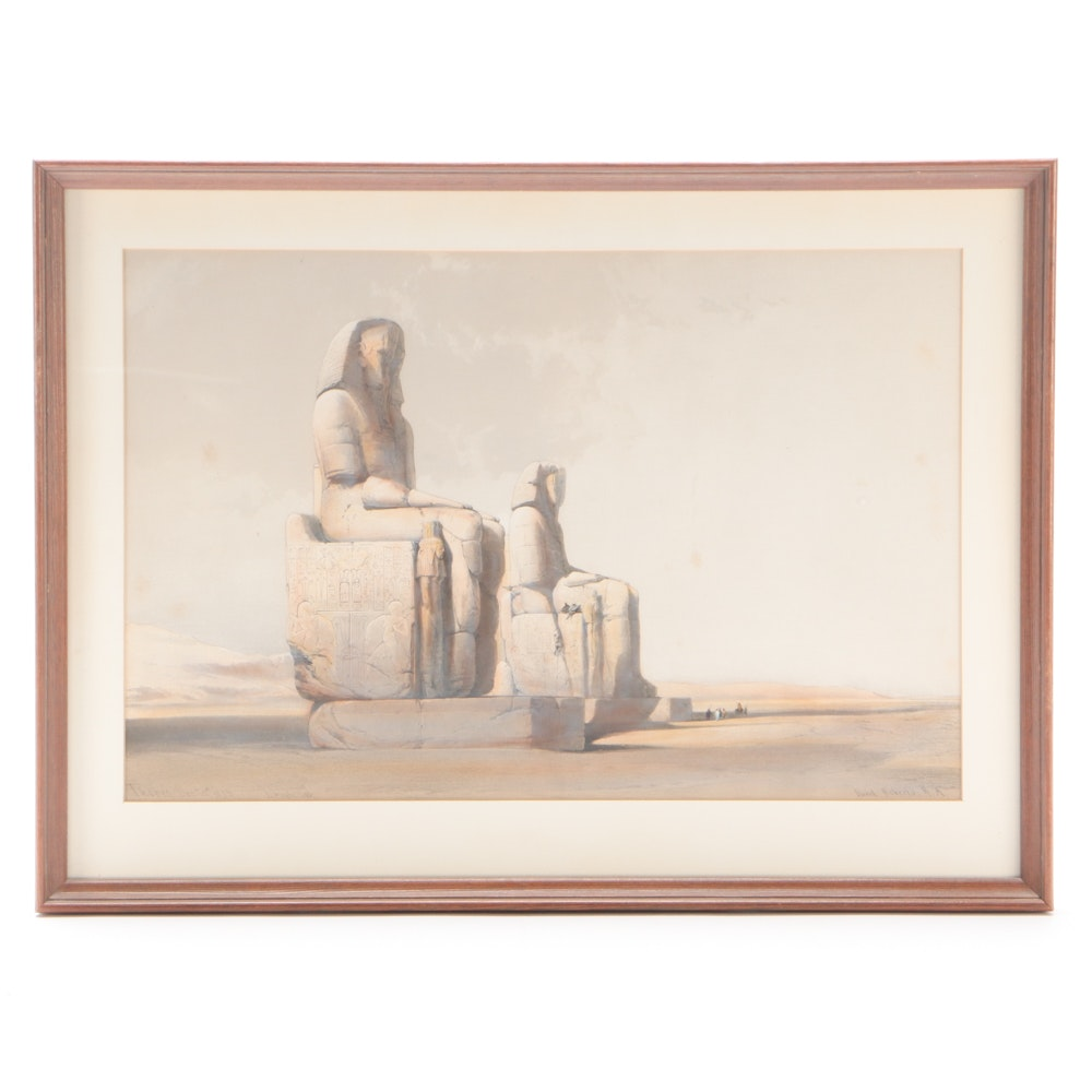 """19th Century Hand-Colored Lithograph after David Roberts """"Thebe"""""""