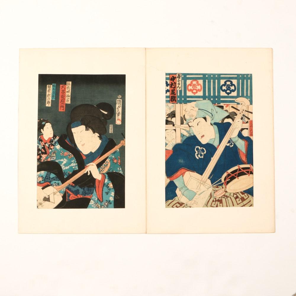 Pair of Antique Japanese Woodblock Prints
