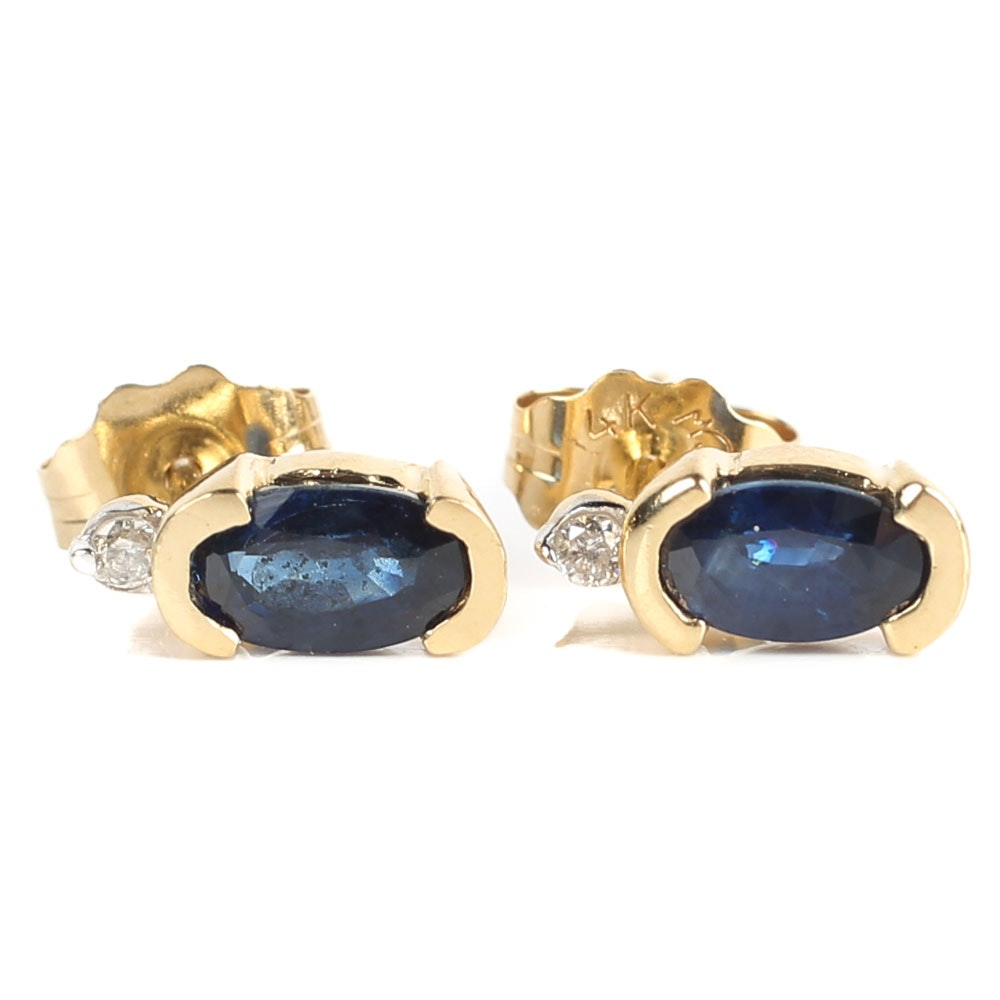 14K Yellow Gold, Sapphire, and Diamond Stud Earrings