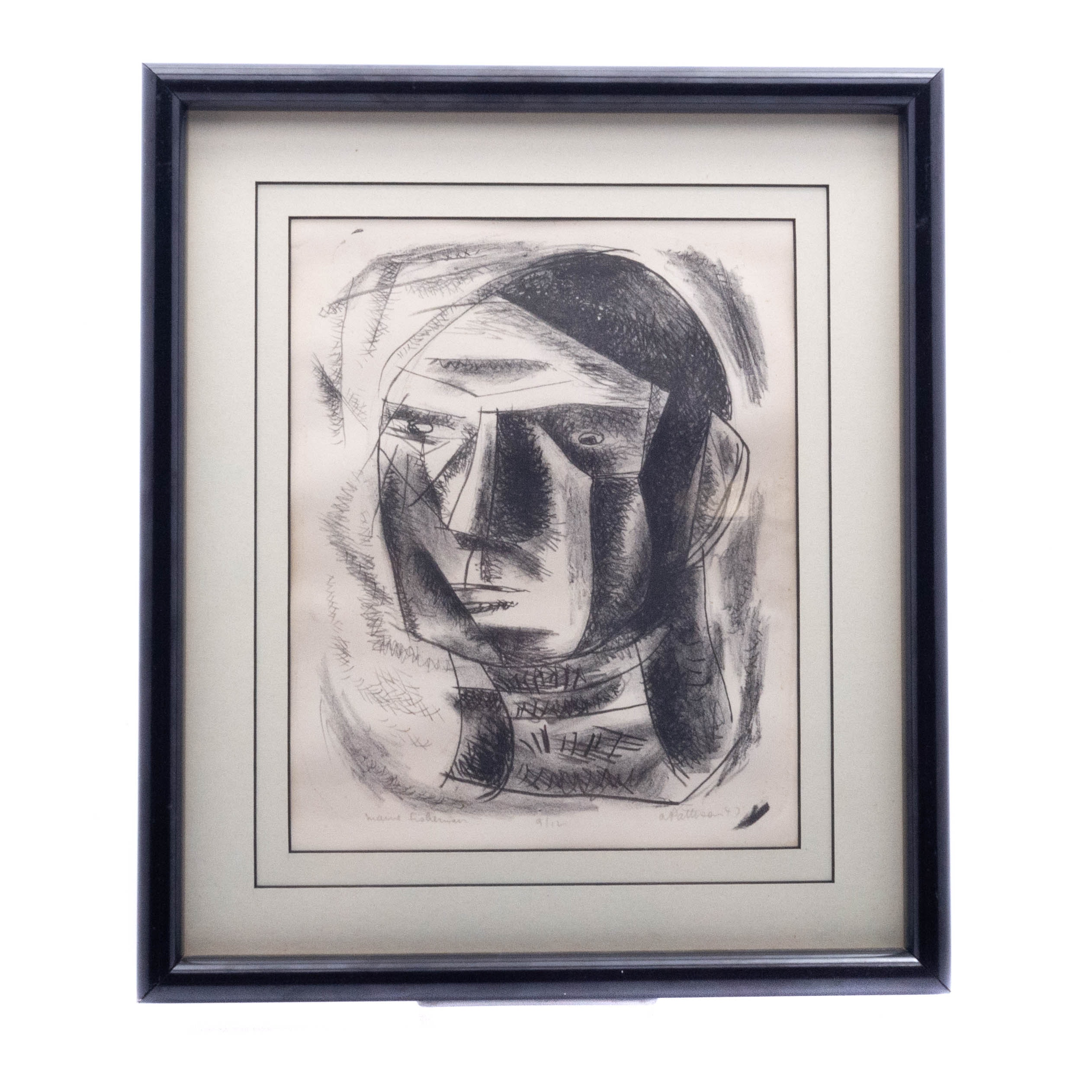 "1947 Listed Artist Abbot Pattison Cubist Etching ""Maine Fisherman"""