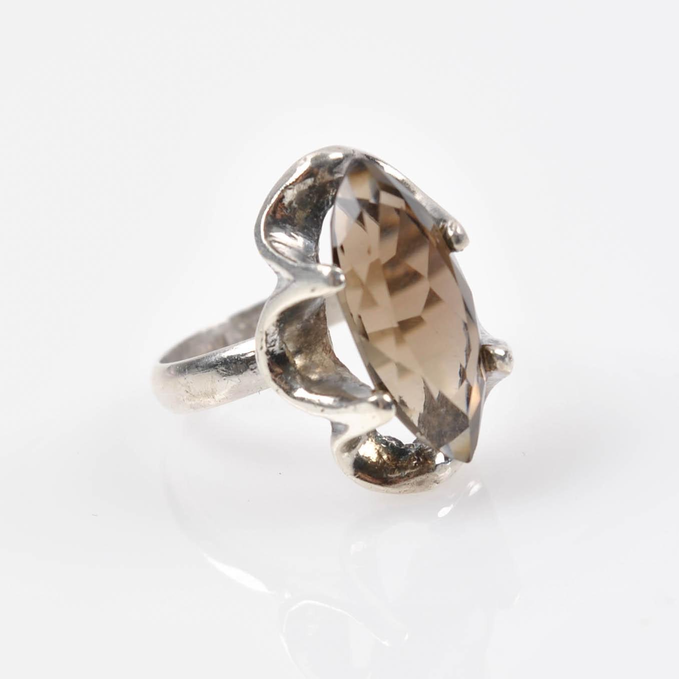 Sterling Silver 4.17 CT Smoky Quartz Ring