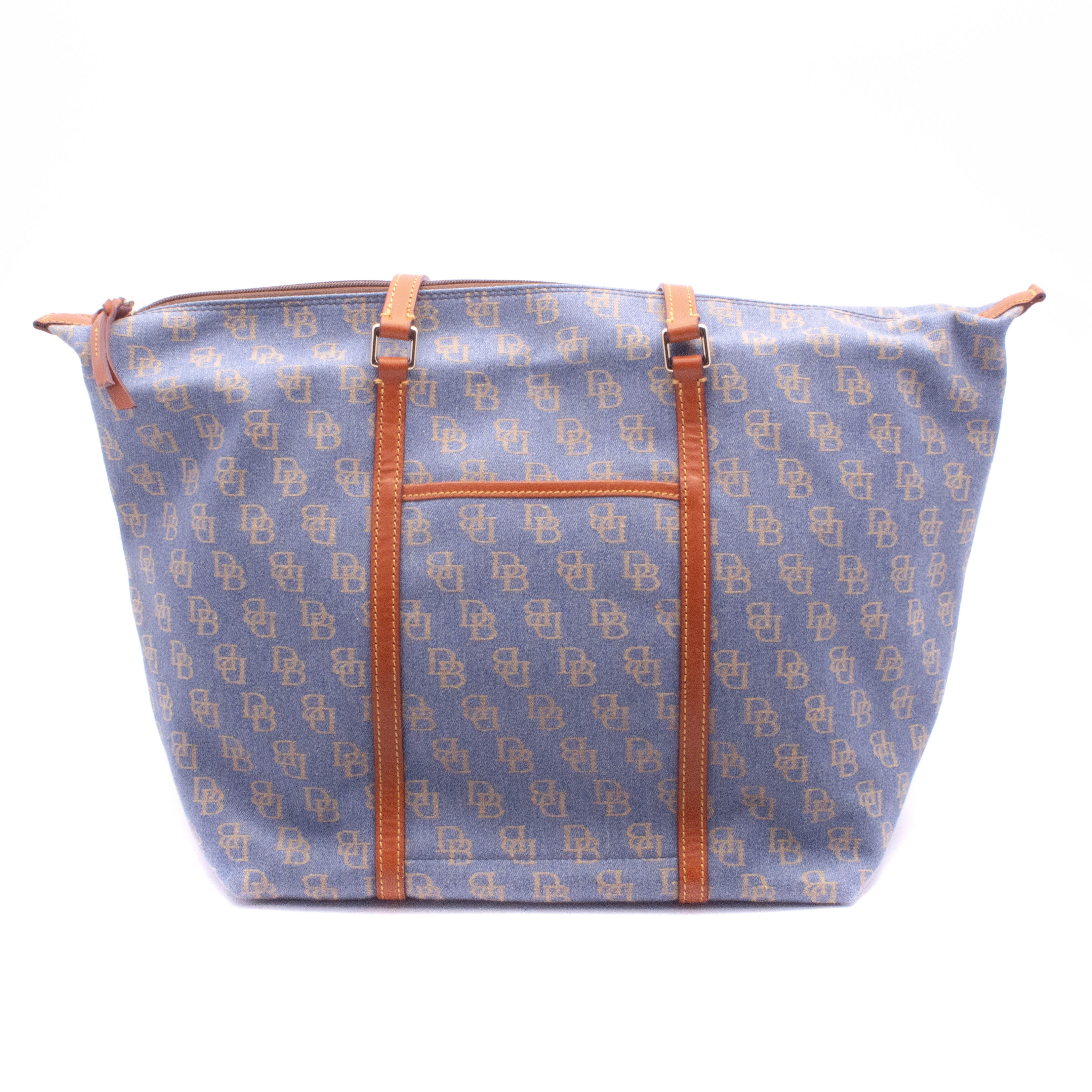 Dooney & Bourke Large Chambray Denim Signature Canvas and Tanned Leather Tote