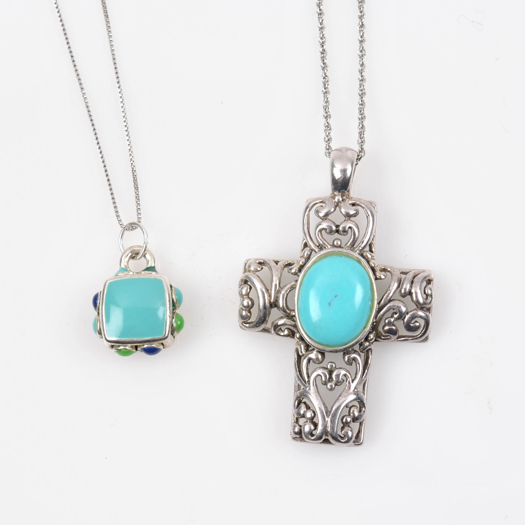 Sterling Silver Imitation Turquoise Pendant Necklaces