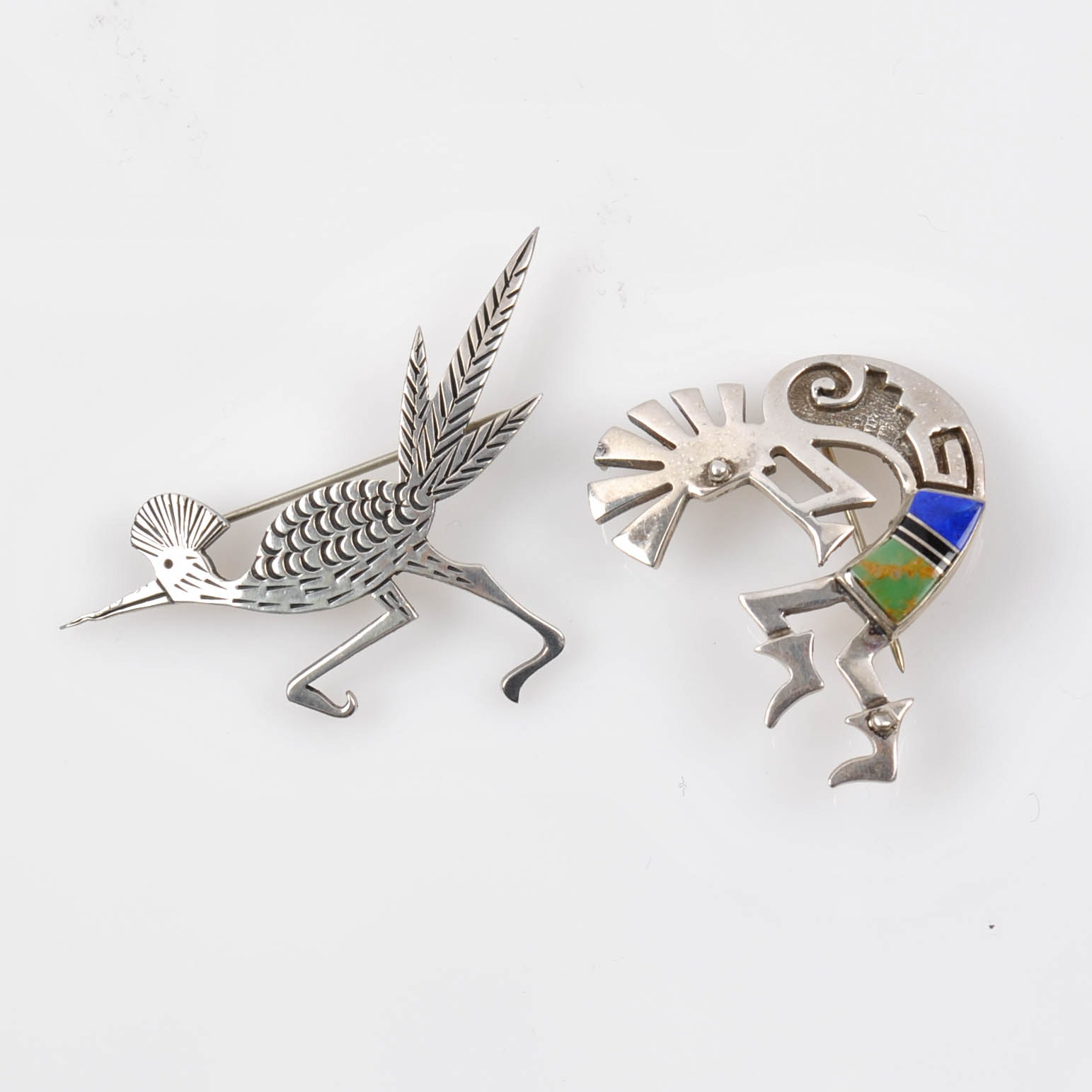 Sterling Silver and 900 Silver Multi-Stone Pins