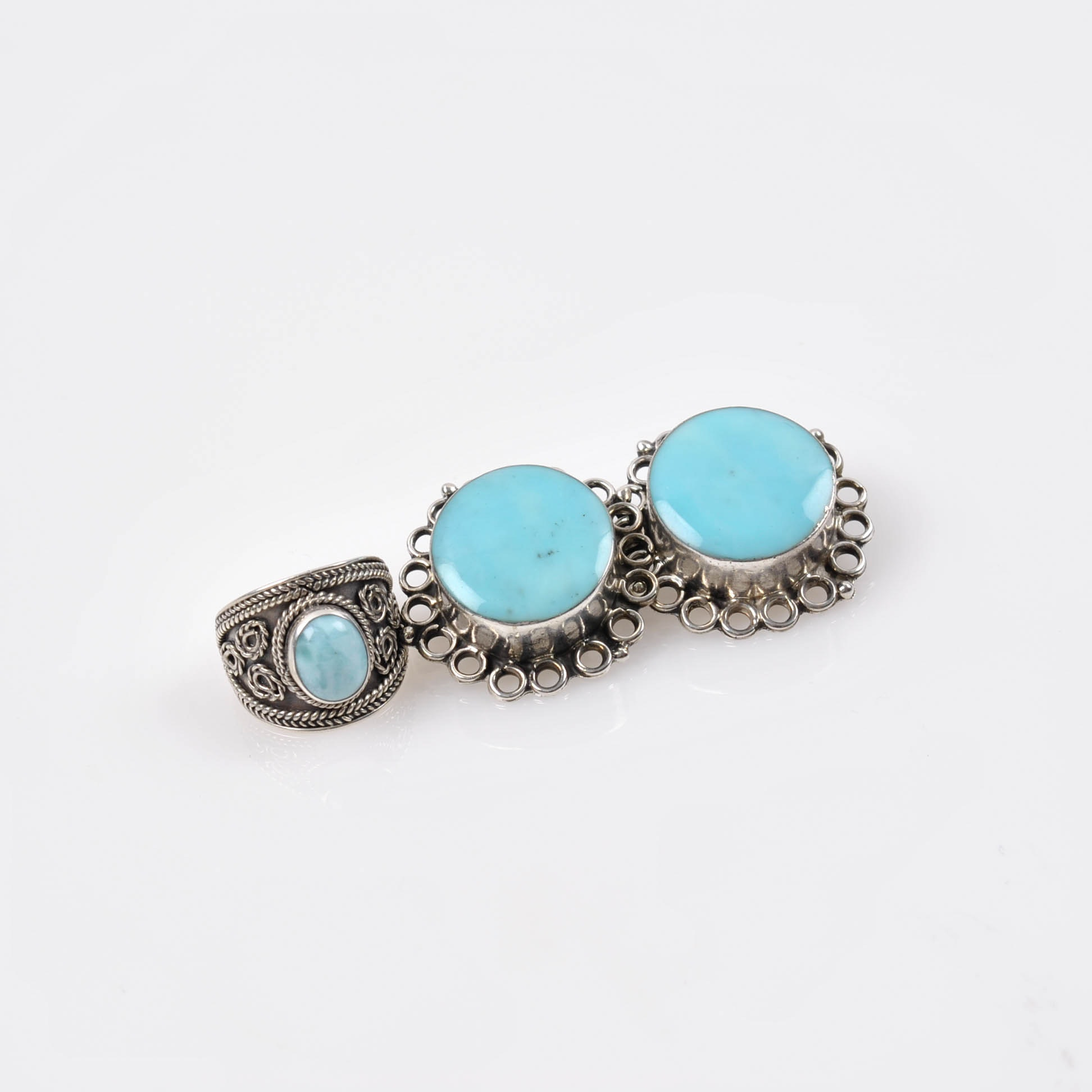 Sterling Silver Howlite and Chalcedony Jewelry
