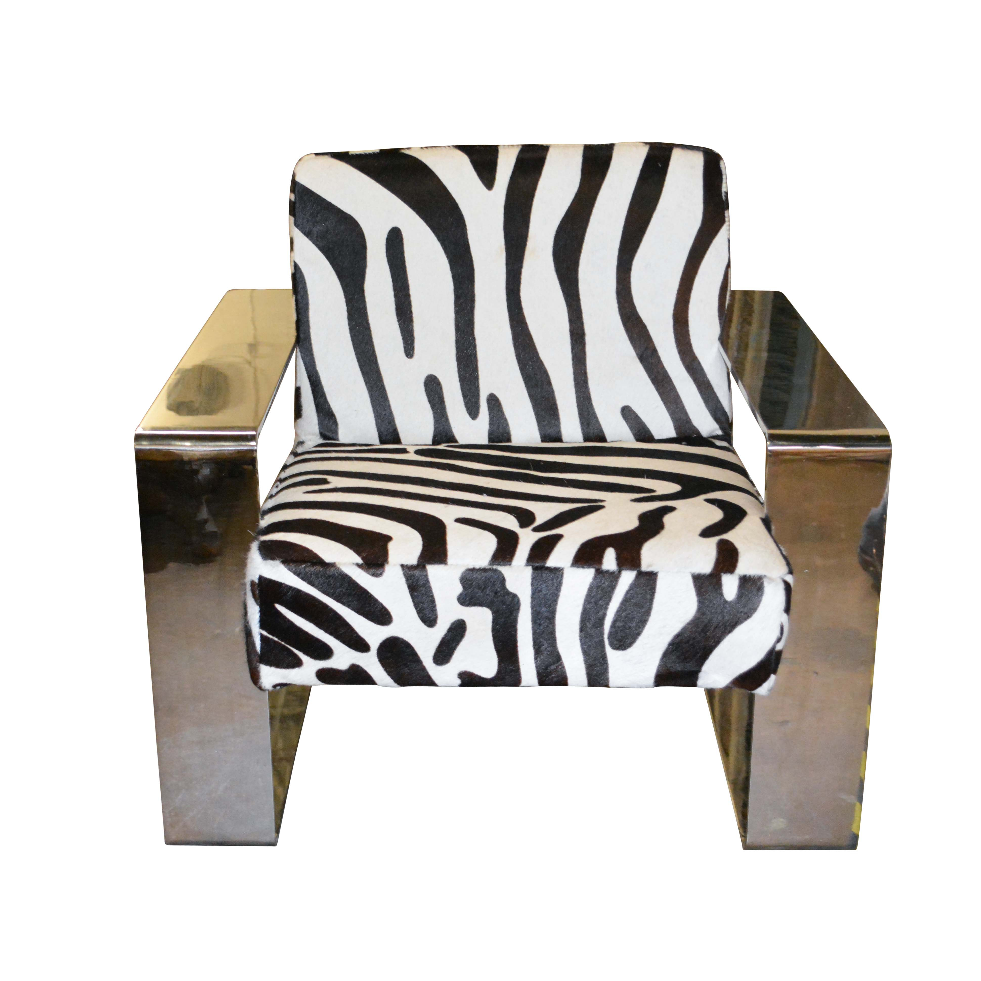 Silver Metal Cantilever Lounge Chair With Zebra Print Upholstery ...