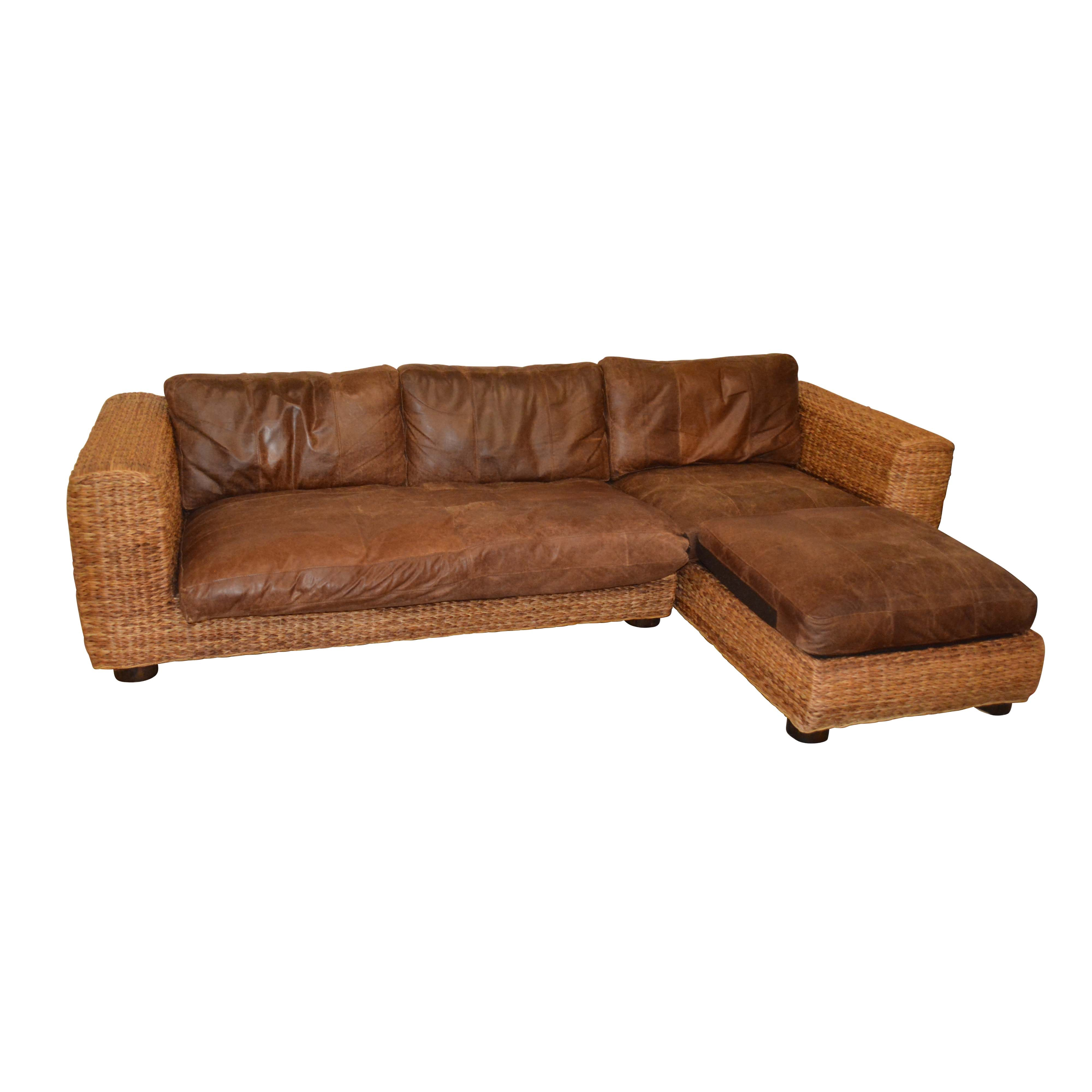 Wicker Weave Sectional with Leather Seats