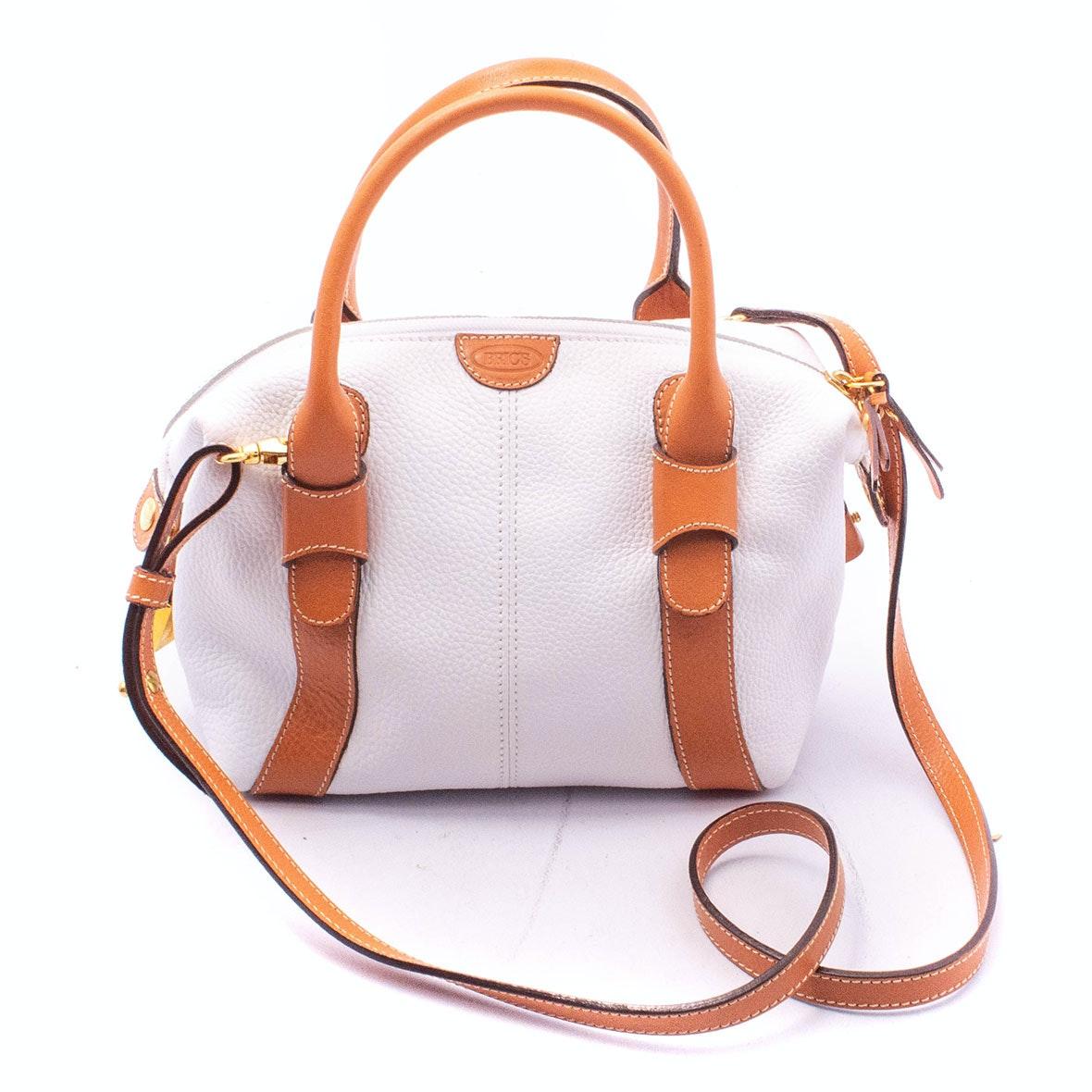 Brics Firenze White Pebble Grain and Tan Leather Duffle Crossbody Bag