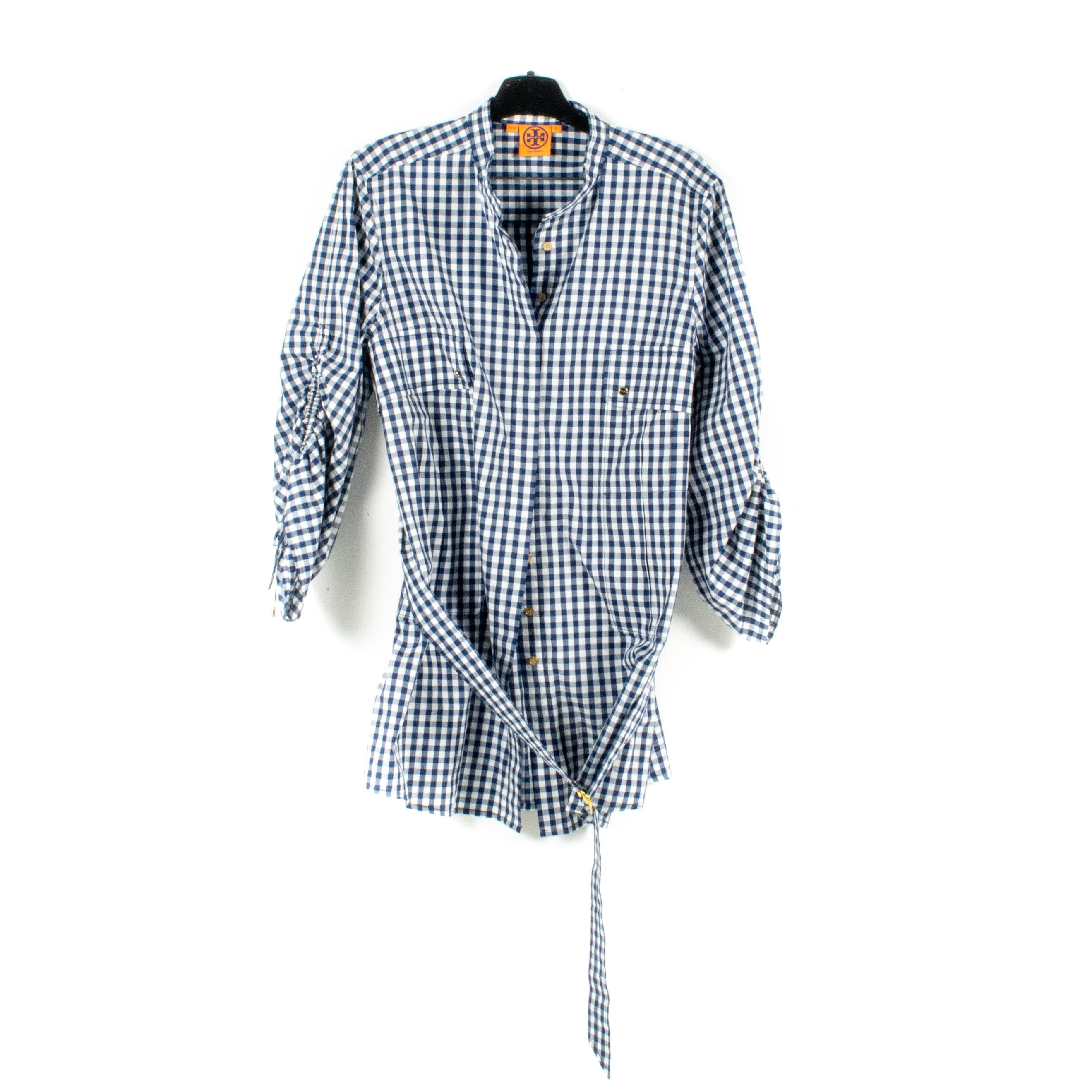 Tory Burch Aaron Blue and White Gingham Checked Belted Tunic
