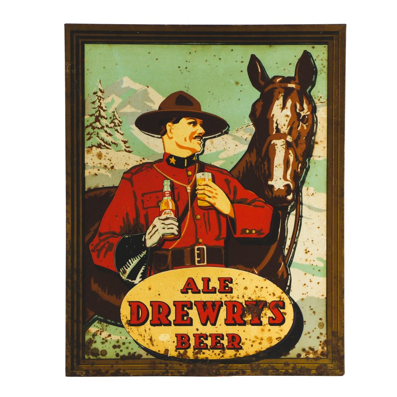 Vintage Drewrys Beer Metal Sign