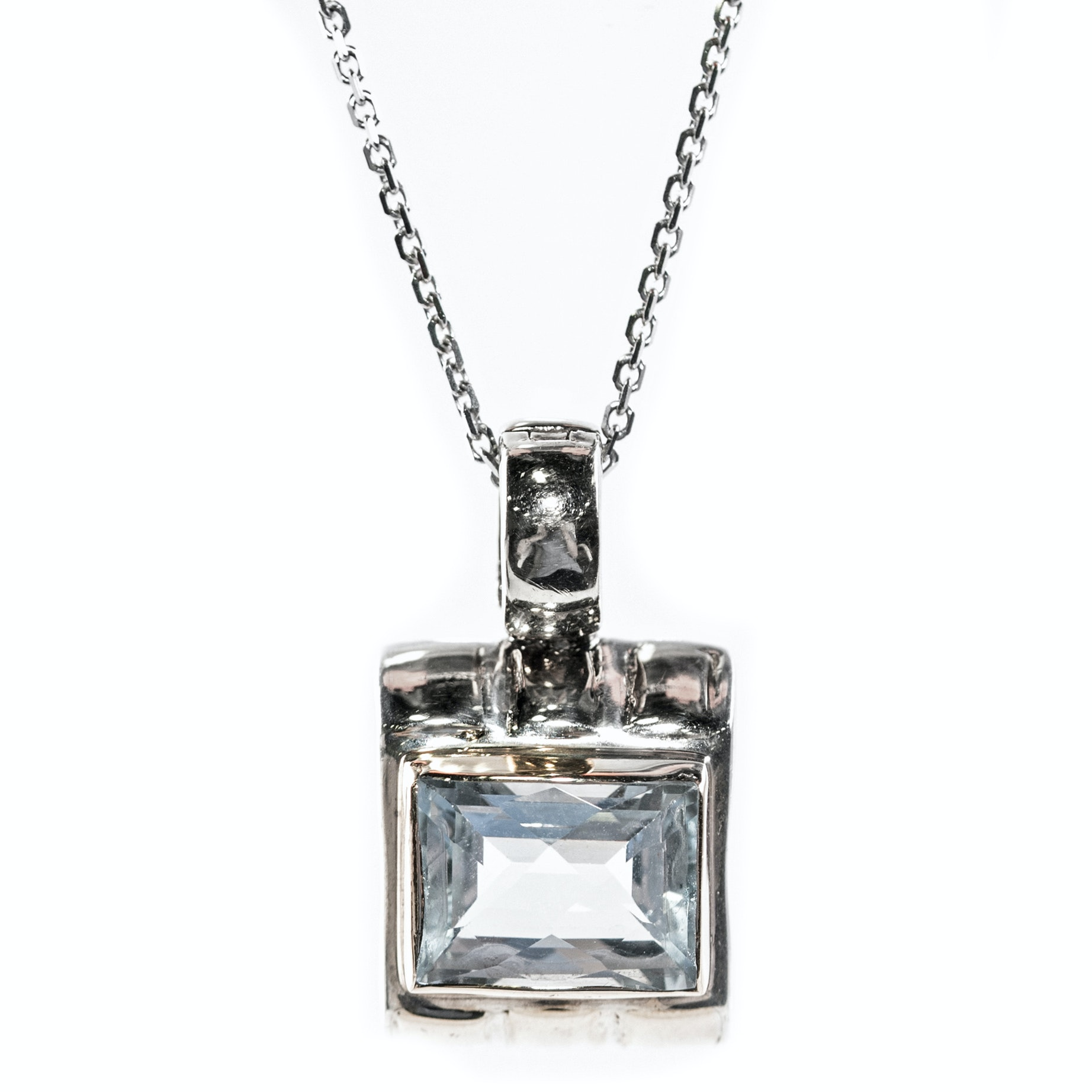 Michael Dawkins Sterling Silver and 6.00 CT Blue Topaz Pendant Necklace