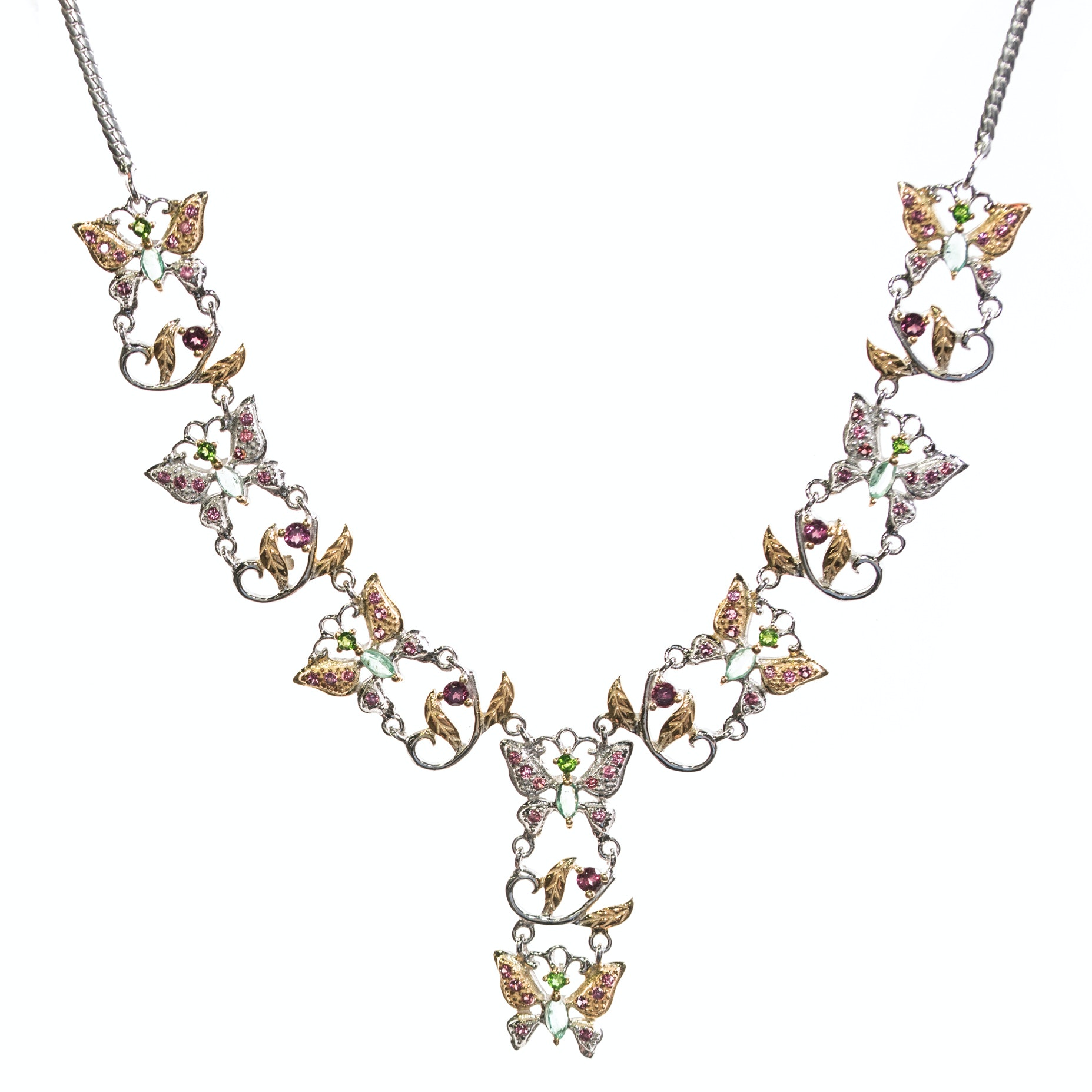 Sterling Silver, Emerald, 3.56 CTW Garnet, and Chrome Diopside Station Necklace