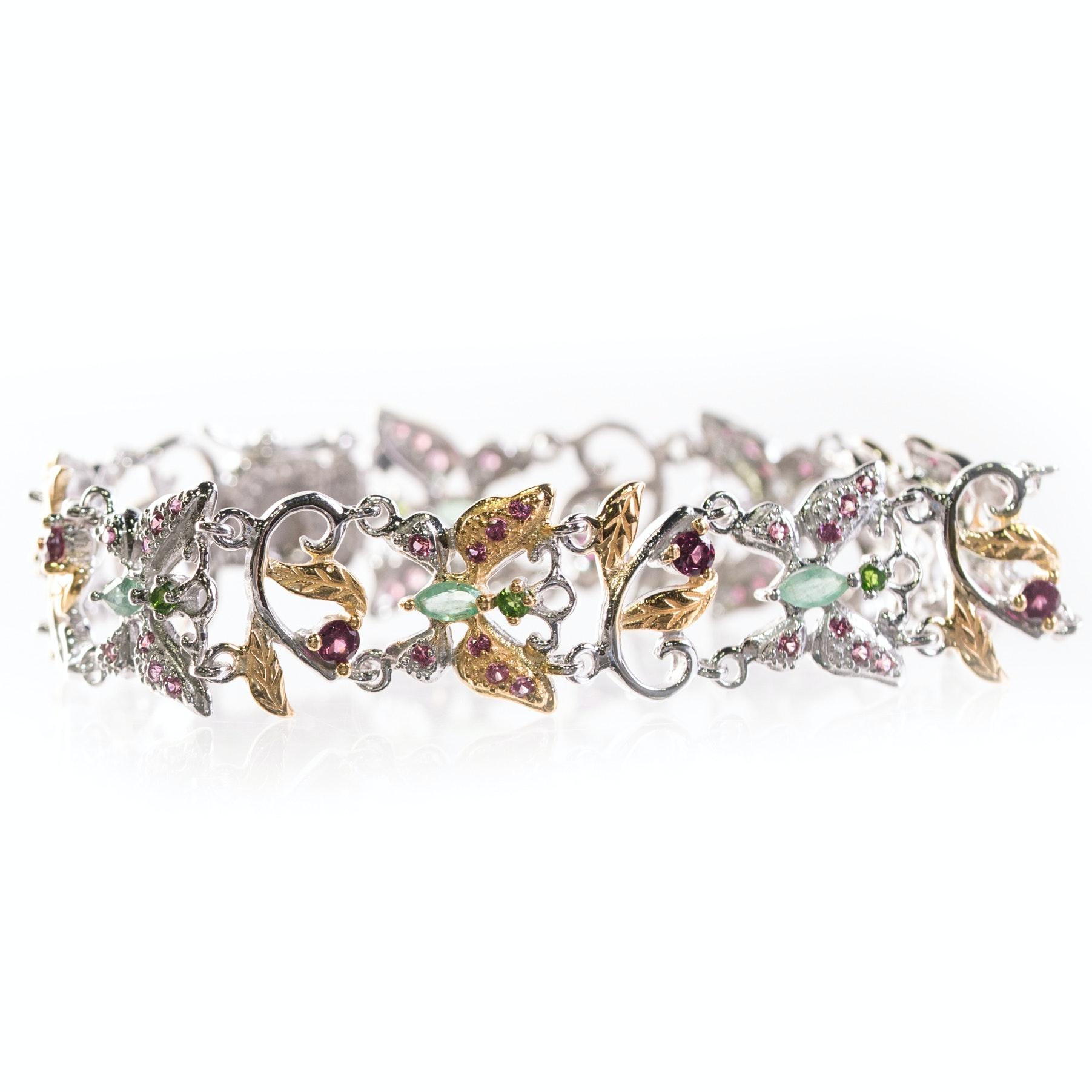 Sterling Silver, 2.50 CTW Garnet, and Multi Gemstone Butterfly Bracelet