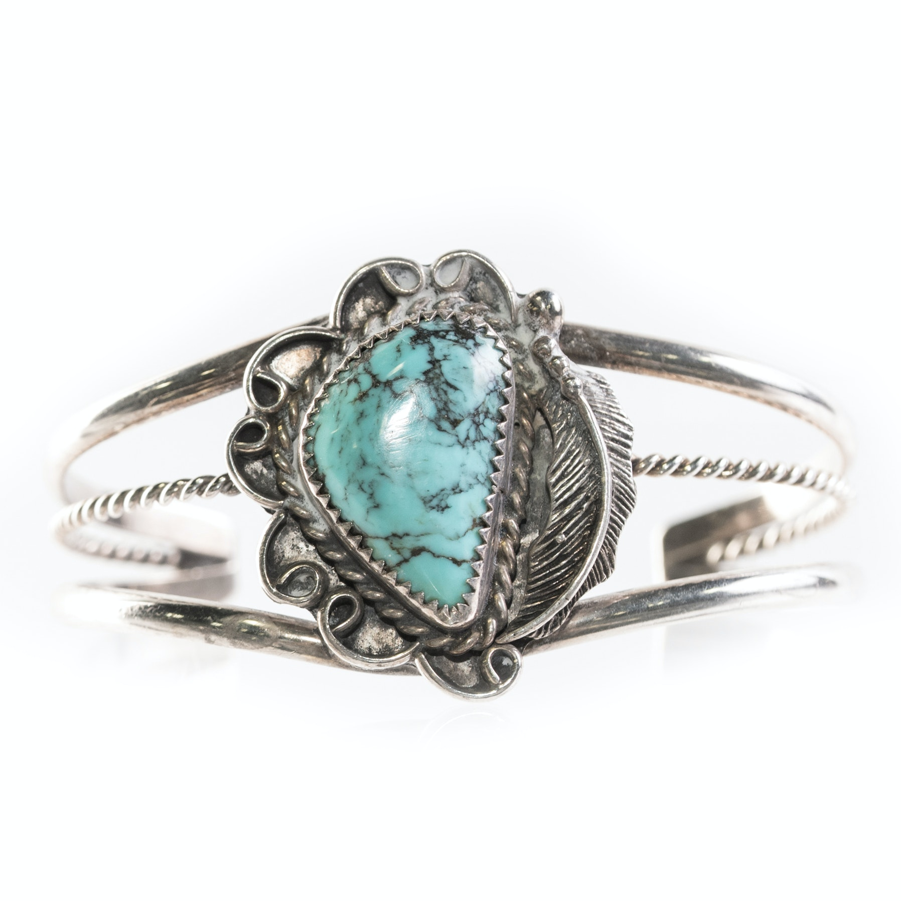 Sterling Silver and Turquoise Southwestern Style Open Cuff Bracelet
