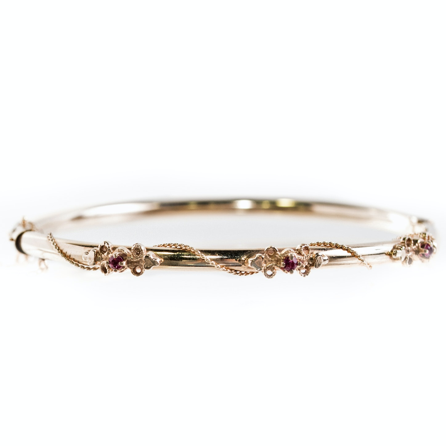 14K Yellow Gold and Ruby Bangle Bracelet