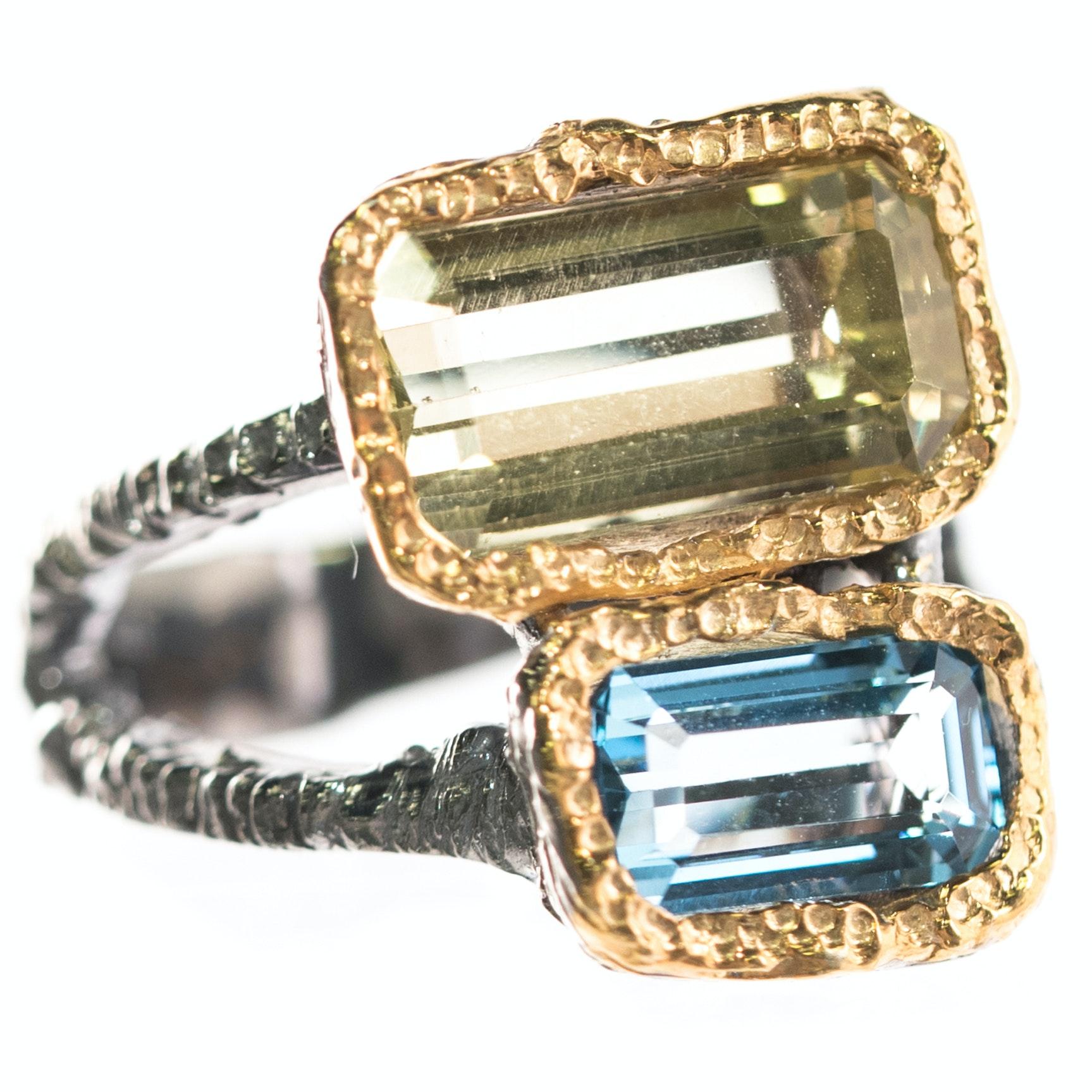 Oxidized Sterling Silver, 3.66 CT Lemon Quartz, and 1.73 CT Blue Topaz Ring