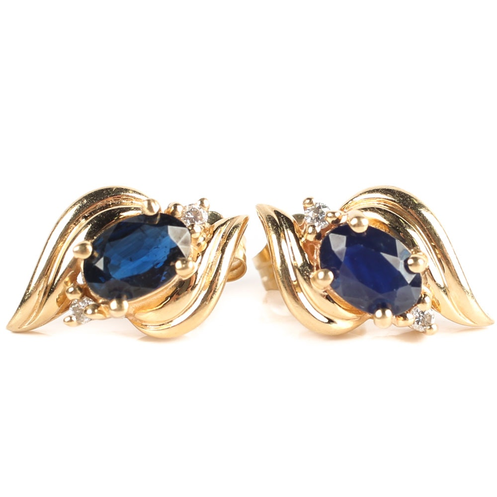 14K Yellow Gold, 1.40 CTW Sapphire, and Diamond Earrings