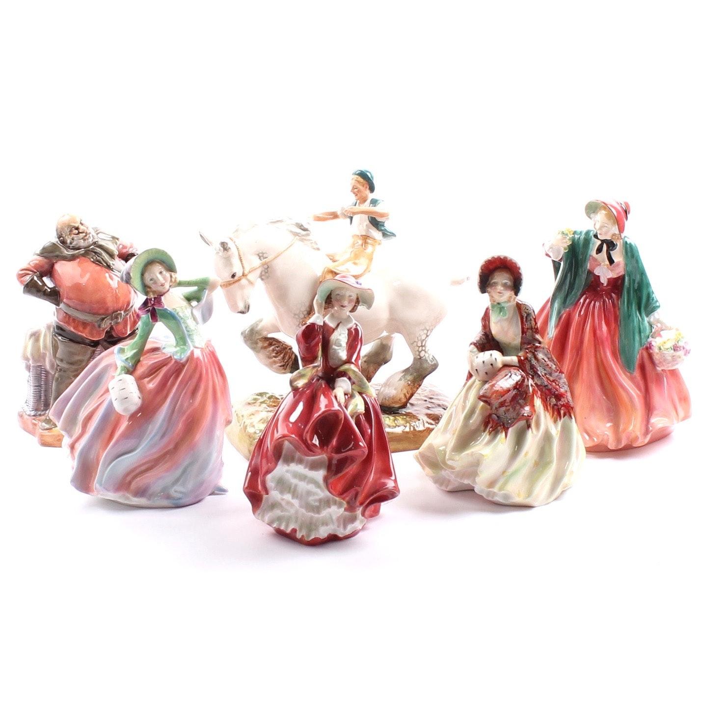"Royal Doulton Bone China Figurines including ""Her Ladyship"" and ""Falstaff"""