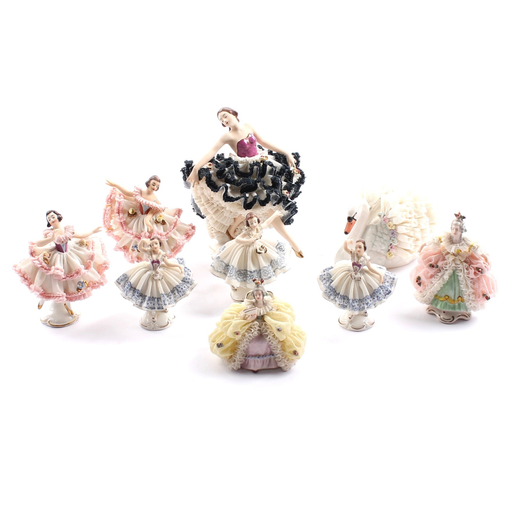 Vintage Dresden Lace Figurines Featuring Muller Volkstedt Irish Lace Swan