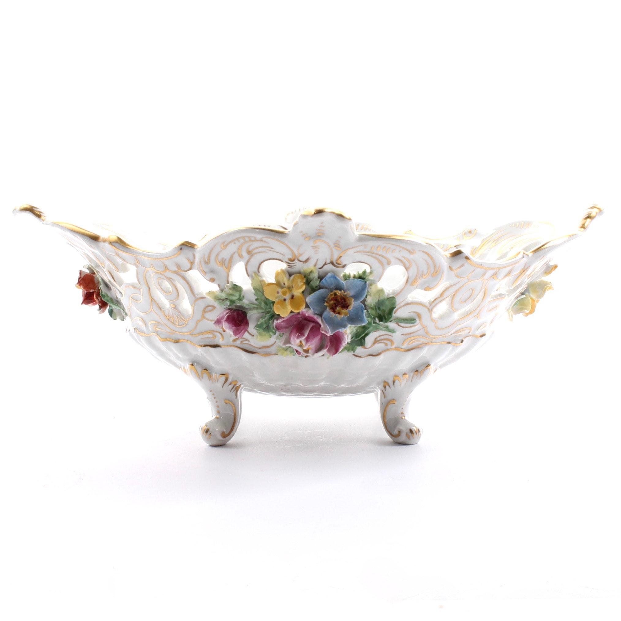 Vintage Original Saxon Dresden Hand-Painted Floral Centerpiece Bowl