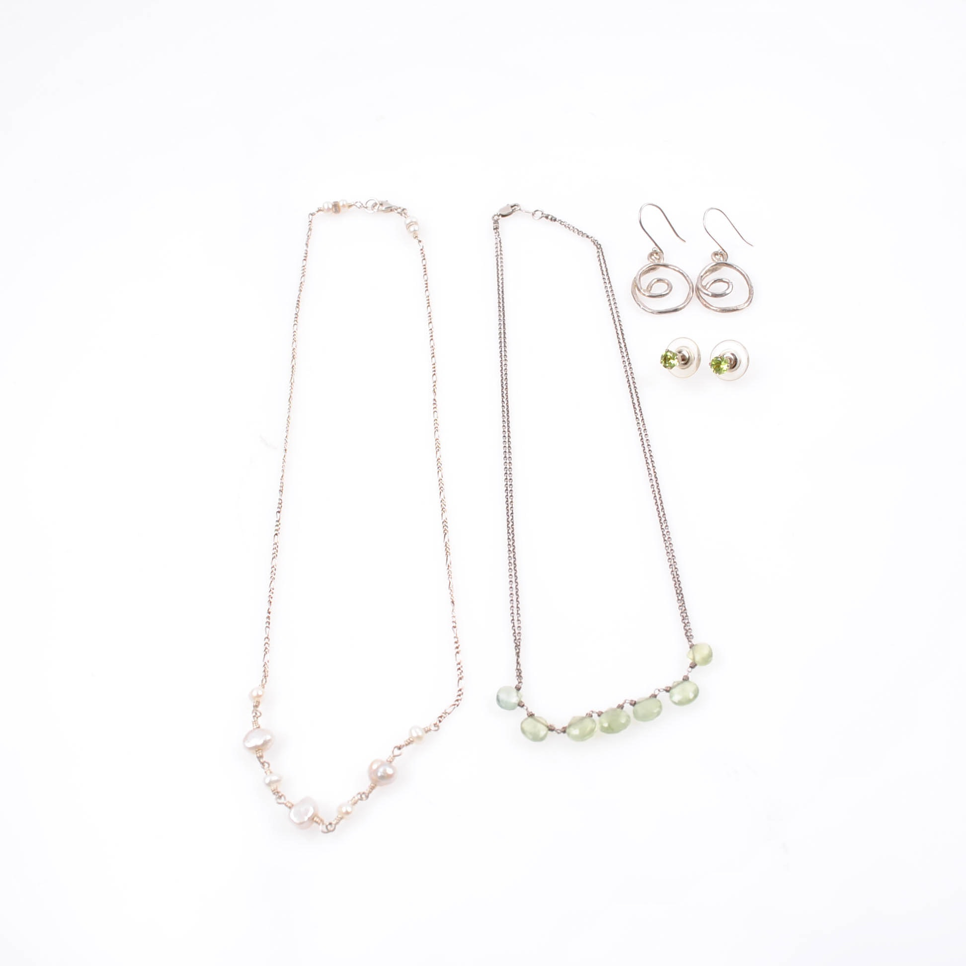 Sterling and 900 Silver Peridot and Freshwater Pearl Necklaces and Earrings