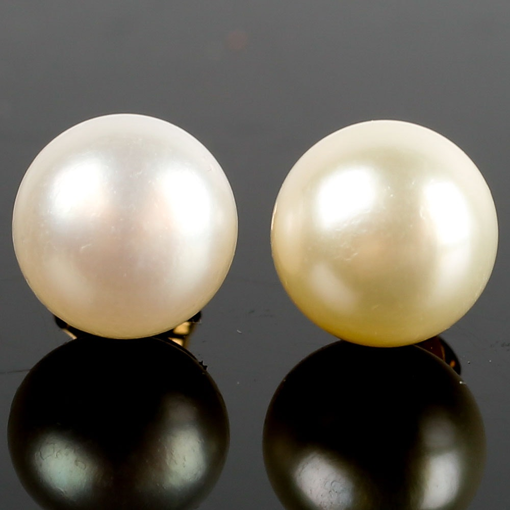 10K and 14K Yellow Gold and Cultured Pearl Stud Earrings
