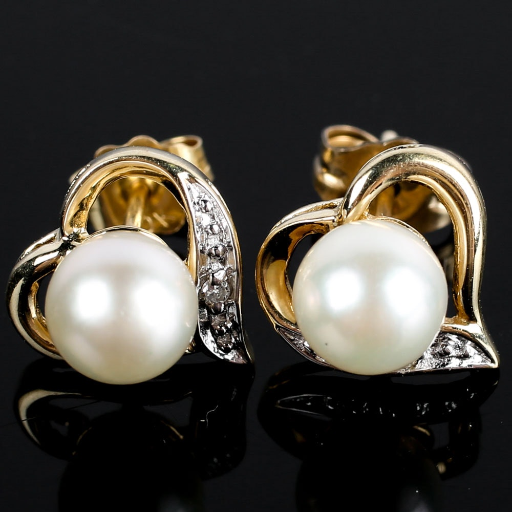 14K Yellow Gold, Cultured Pearl, and Diamond Earrings