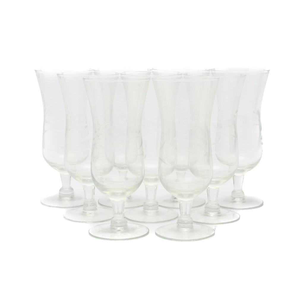 Vintage Floral Etched Juice Glasses