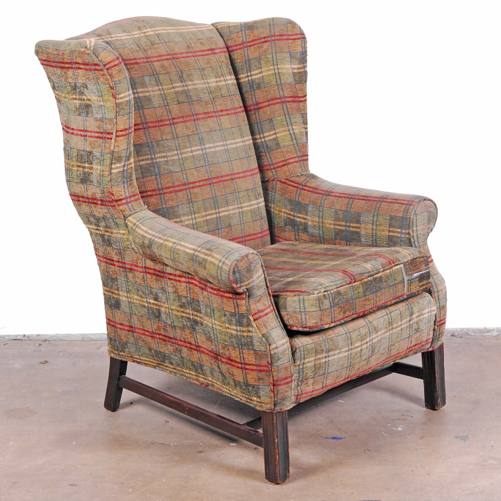 Chippendale Style Upholstered Wingback Armchair