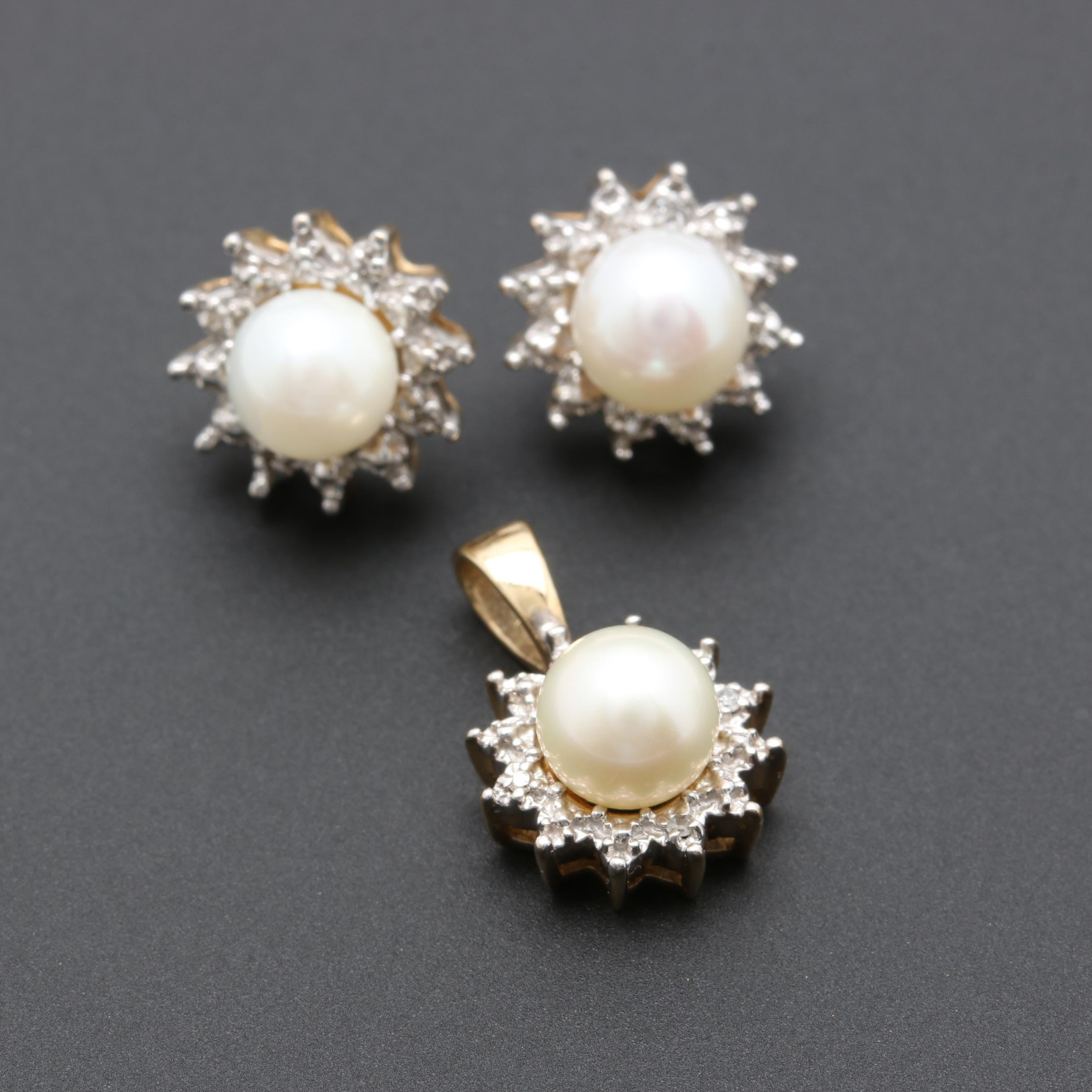 10K Yellow Gold Cultured Pearl and Diamond Earrings and Pendant Set