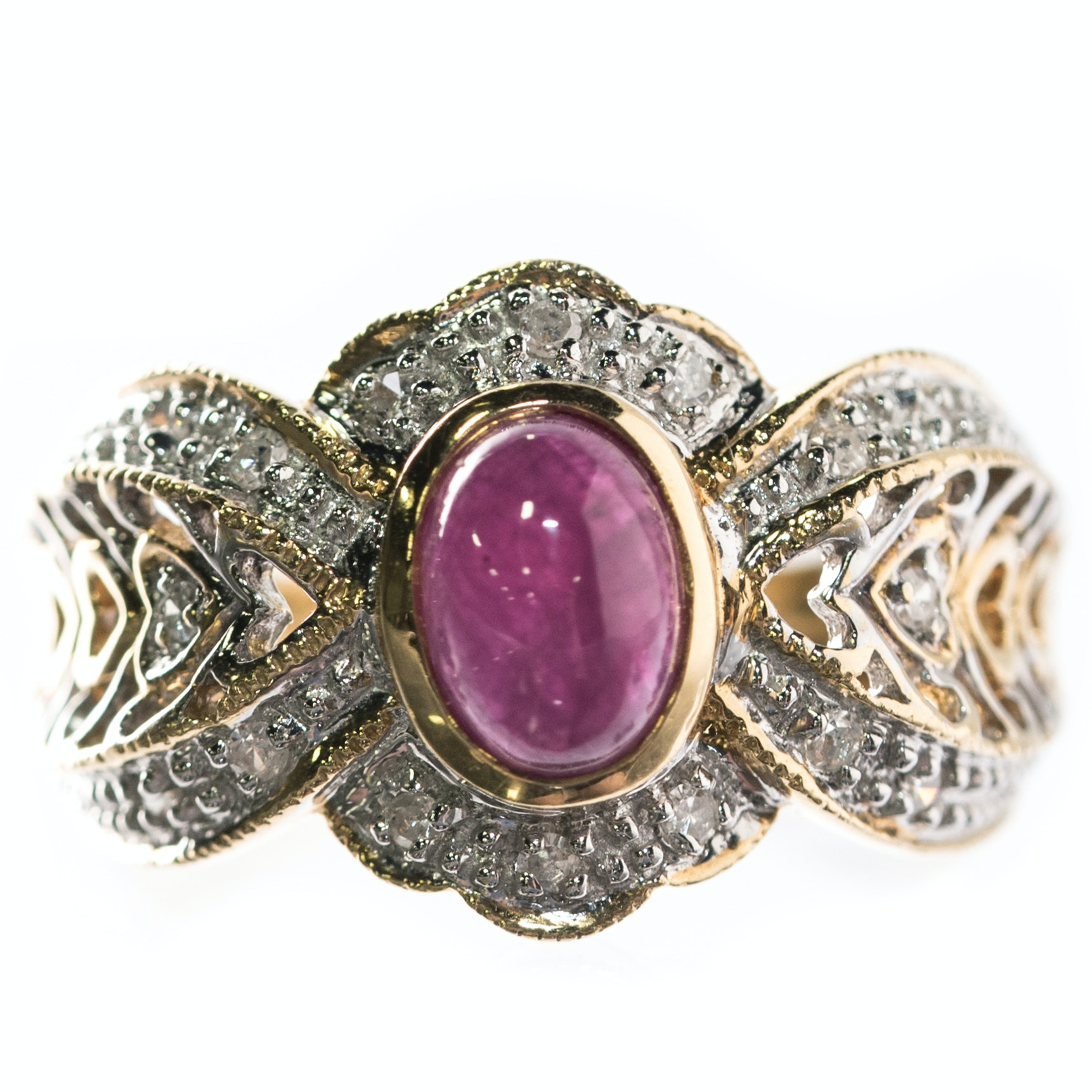 18K Yellow Gold, 18K White Gold, 1.55 CT Ruby, and Diamond Ring