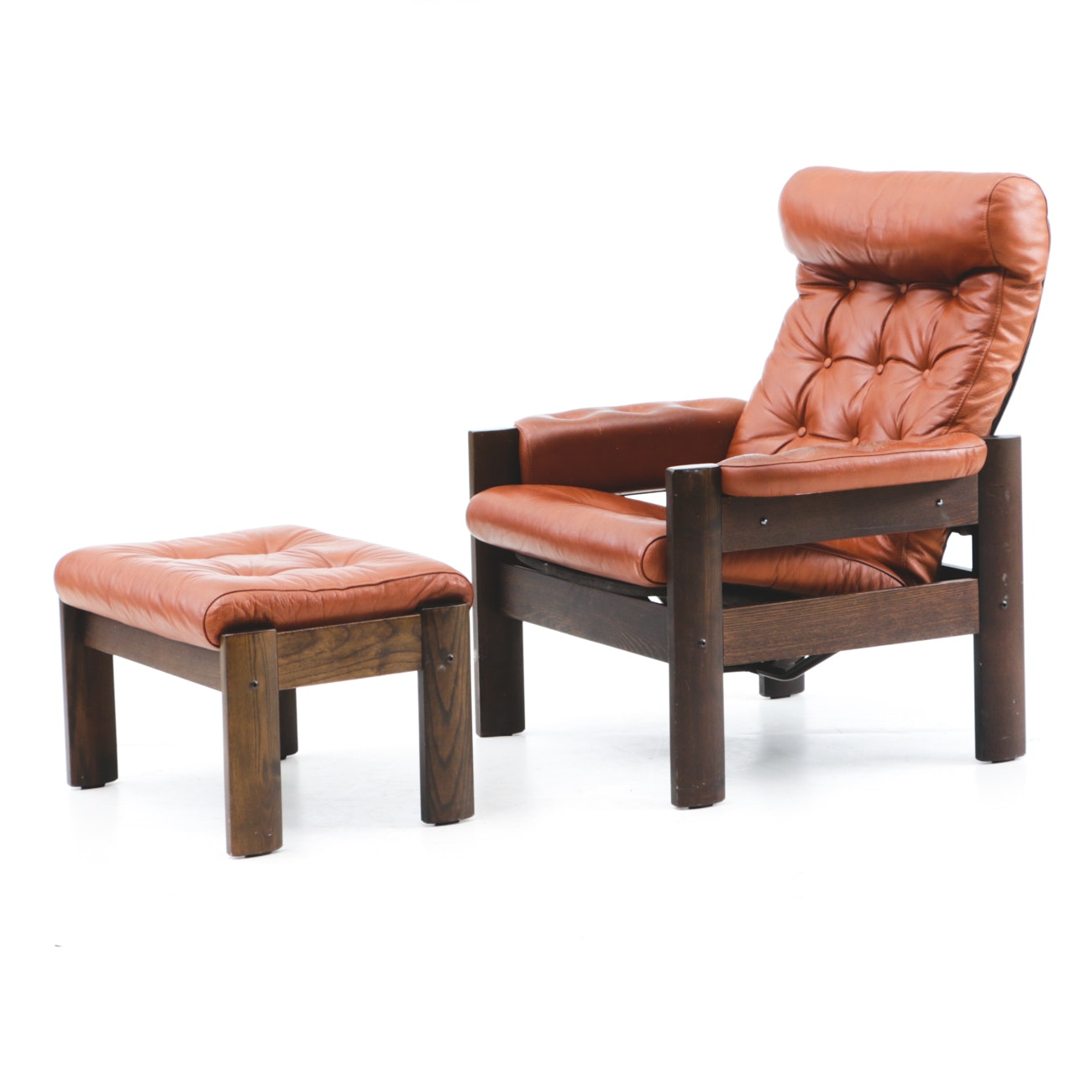 Norwegian Leather Recliner and Ottoman