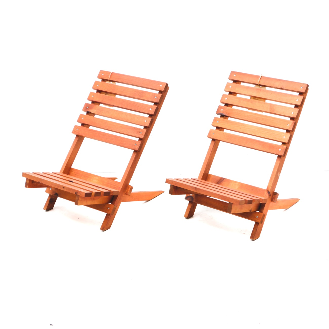 Stained Pine Slat Back Low Beach Chairs