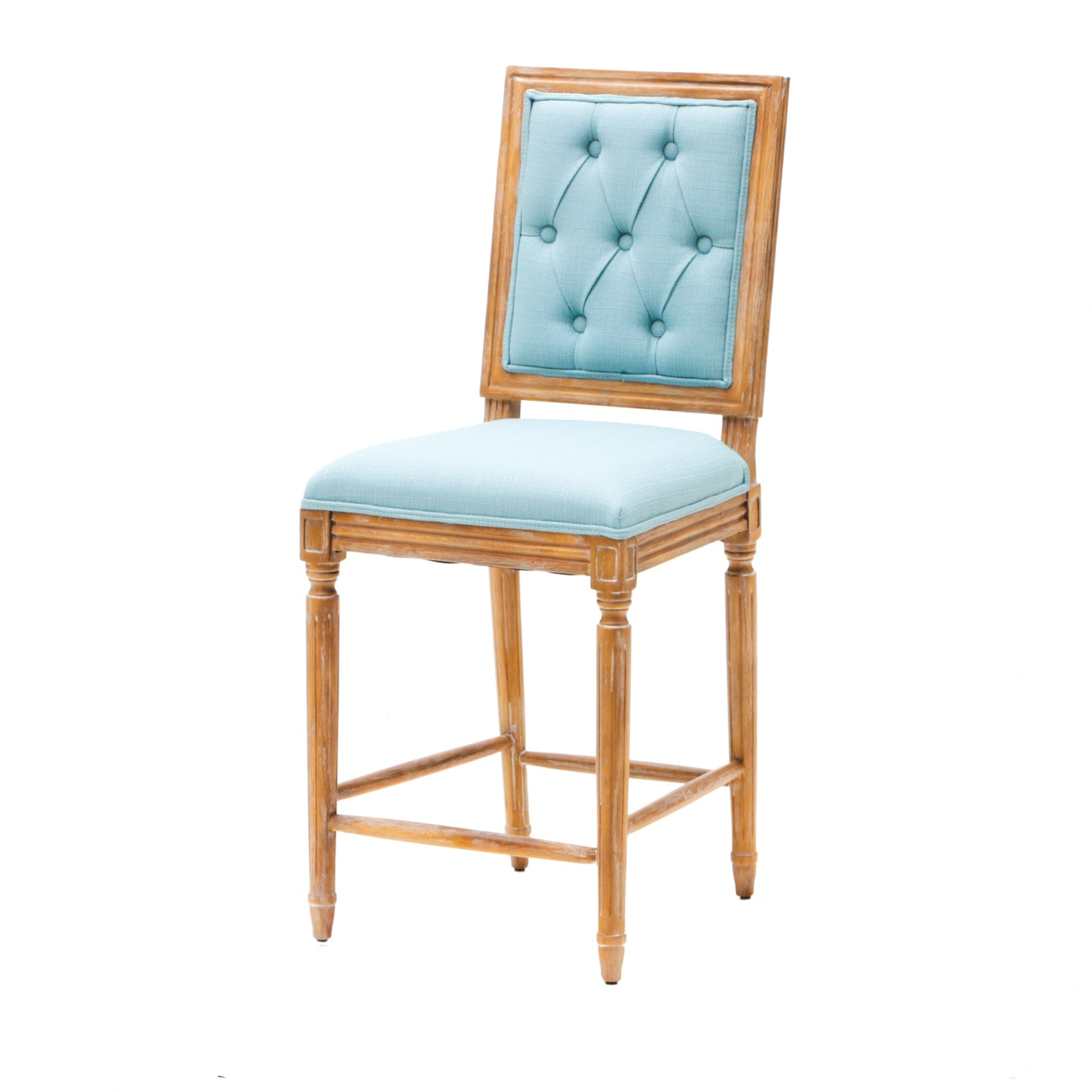 Linon Home Avalon Tufted Back Wooden Barstool