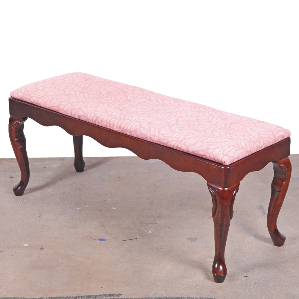 Vintage Queen Anne Style Upholstered Bench