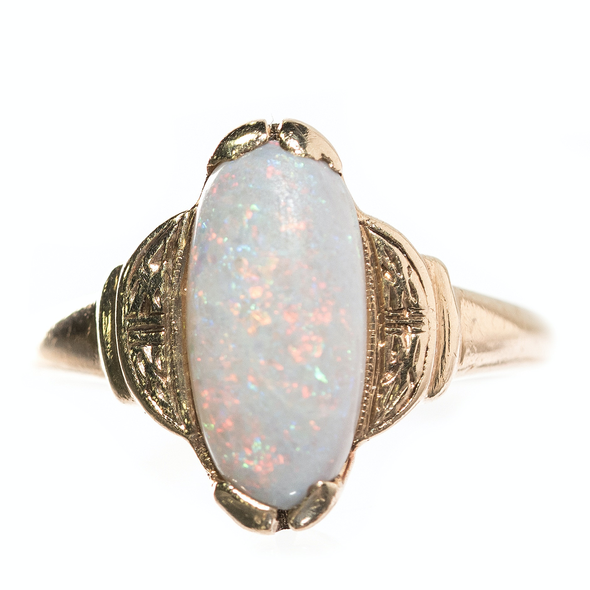 Vintage 14K Yellow Gold and 1.00 CT Opal Ring