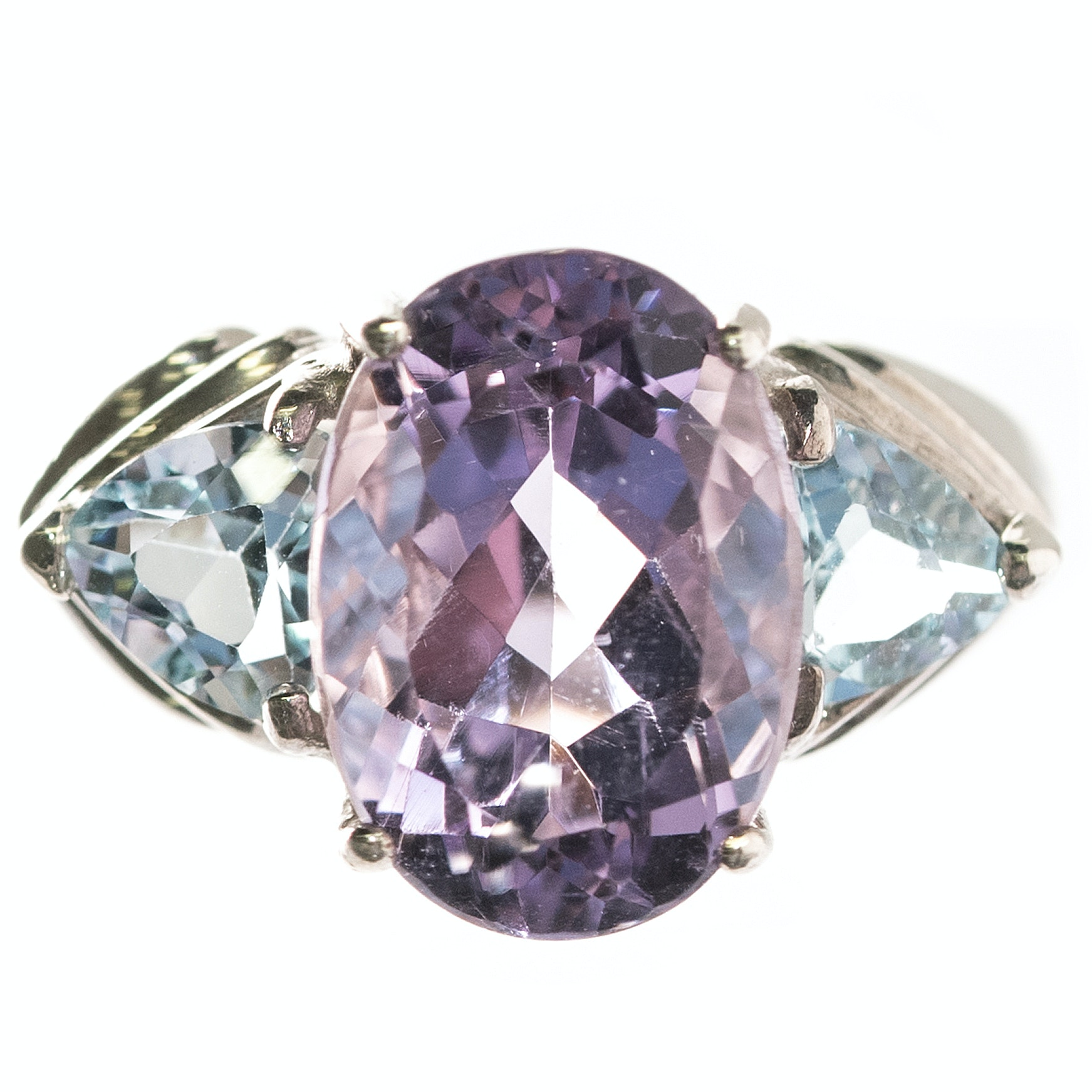 Sterling Silver, 5.35 CT Amethyst, and Blue Topaz Ring