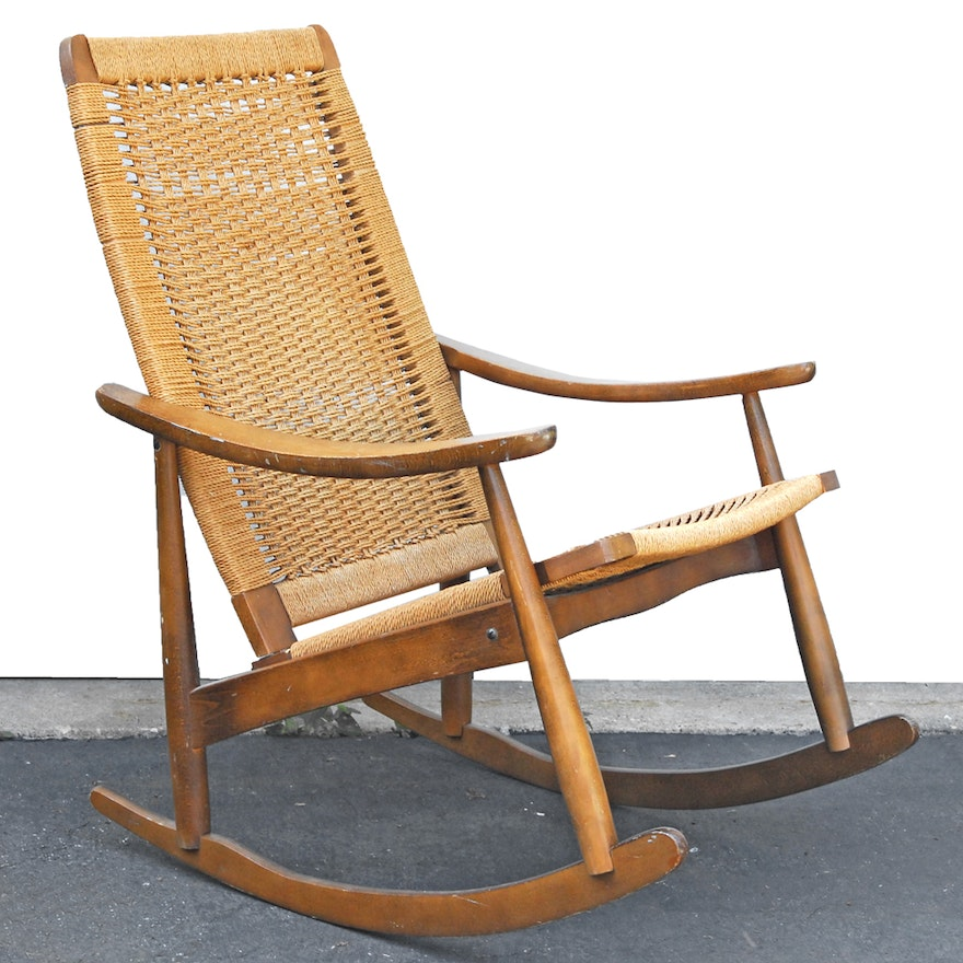 Astonishing Vintage Mid Century Modern Yugoslavian Woven Rocking Chair Gmtry Best Dining Table And Chair Ideas Images Gmtryco