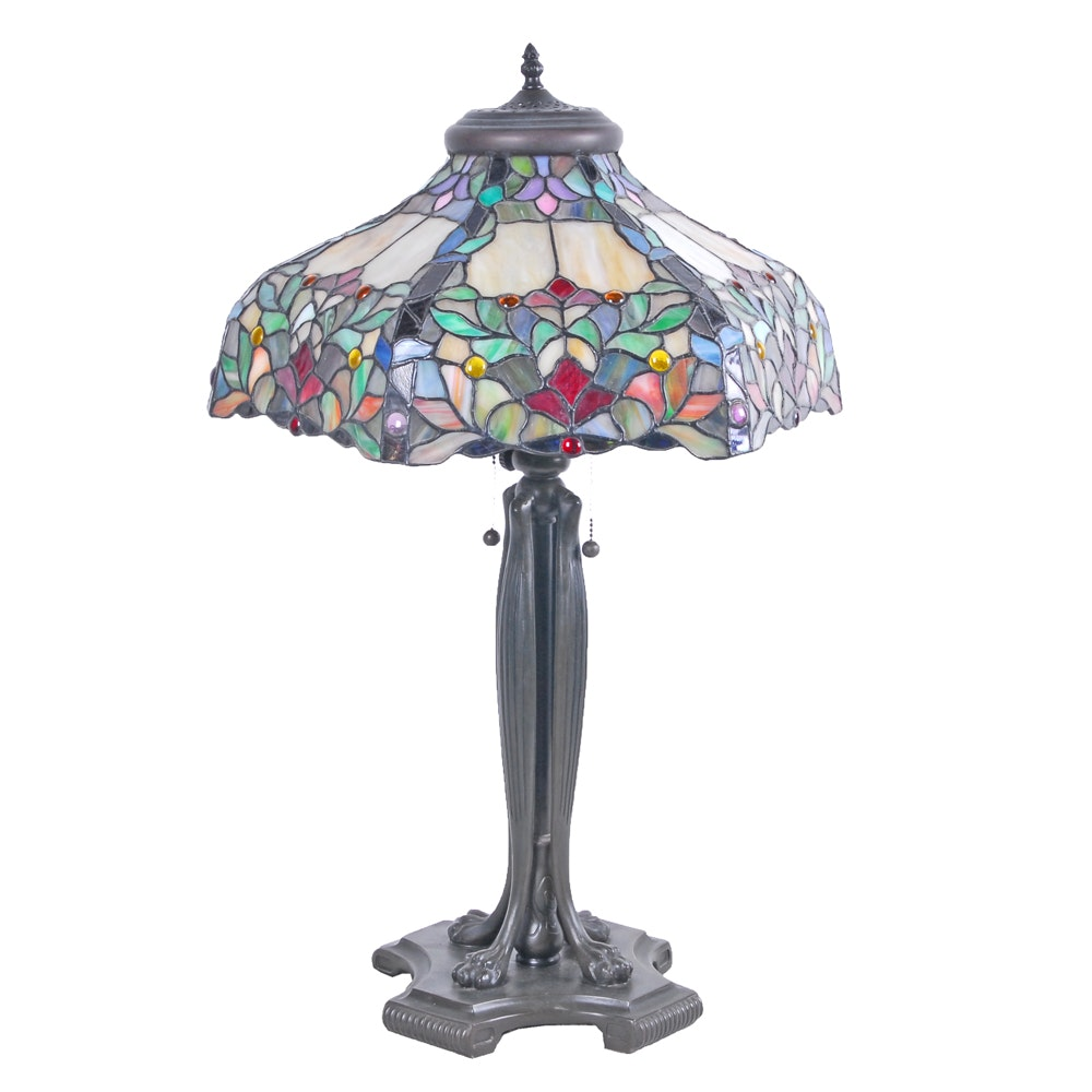 Tiffany Style Table Lamp With Stained Glass Shade