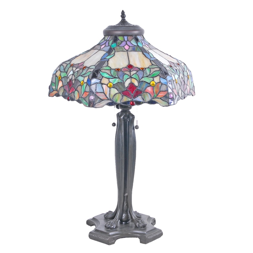 Tiffany style table lamp with stained glass shade ebth tiffany style table lamp with stained glass shade aloadofball Choice Image
