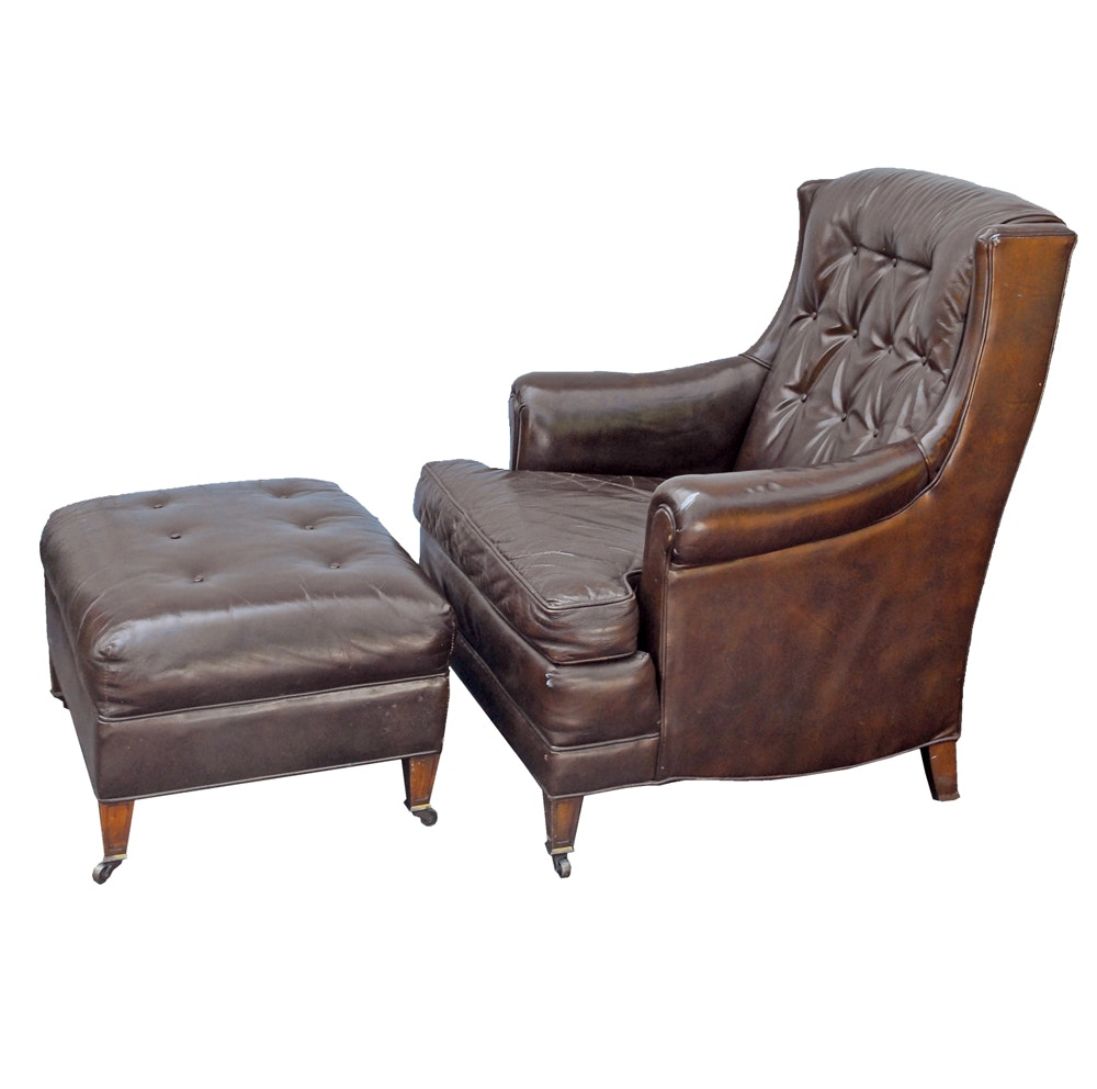 Vintage Brown Leather Armchair and Ottoman by Henredon