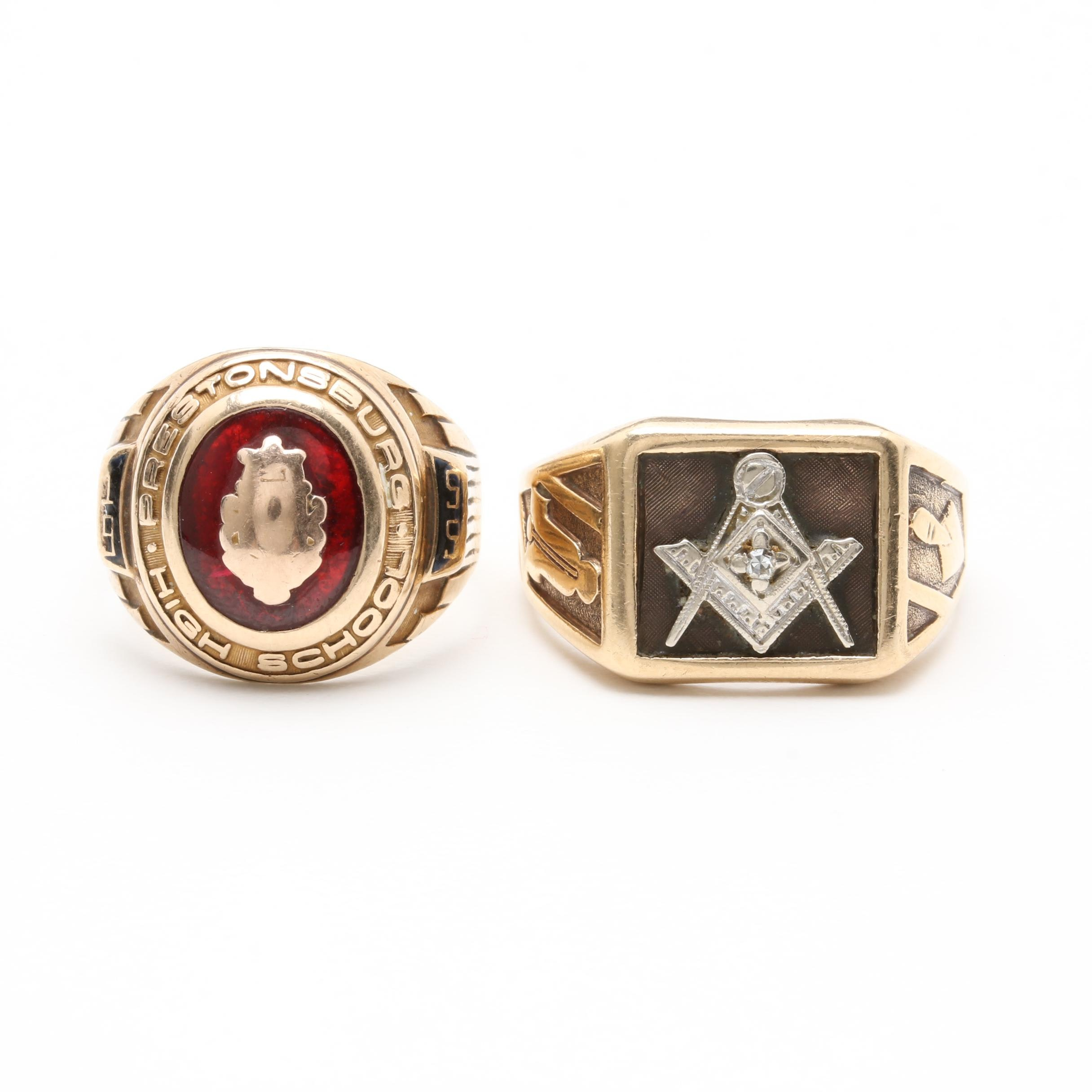 10K Yellow Gold Free Mason Diamond Ring with 1955 Synthetic Ruby Class Ring