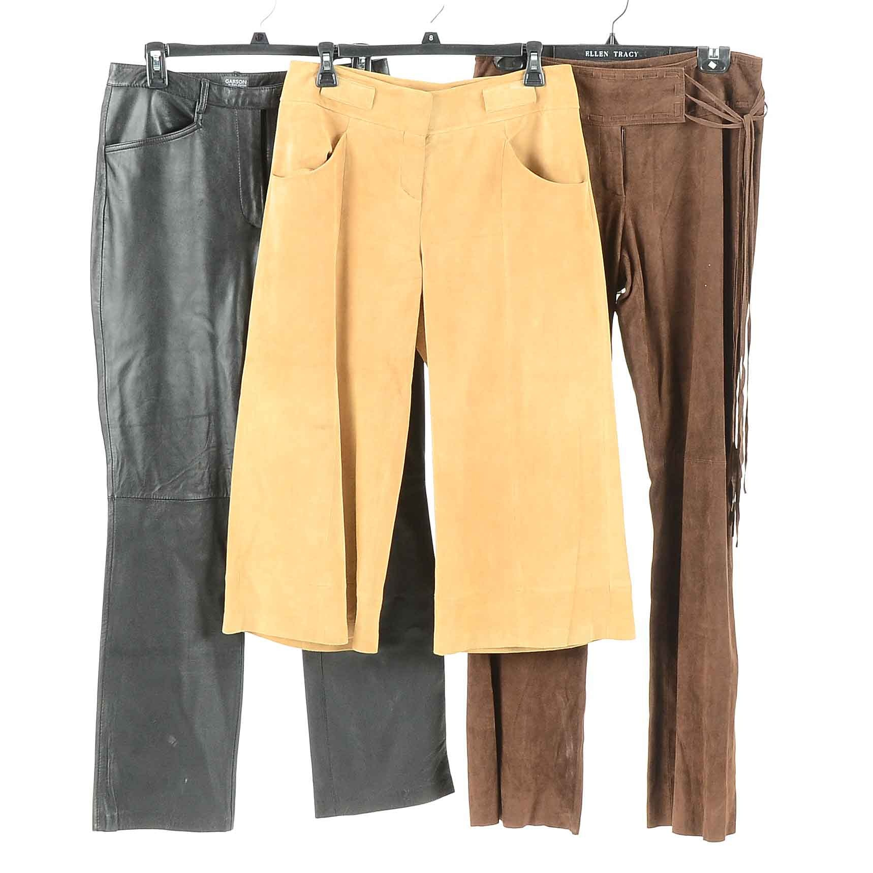 Women's Designer Suede and Leather Pants
