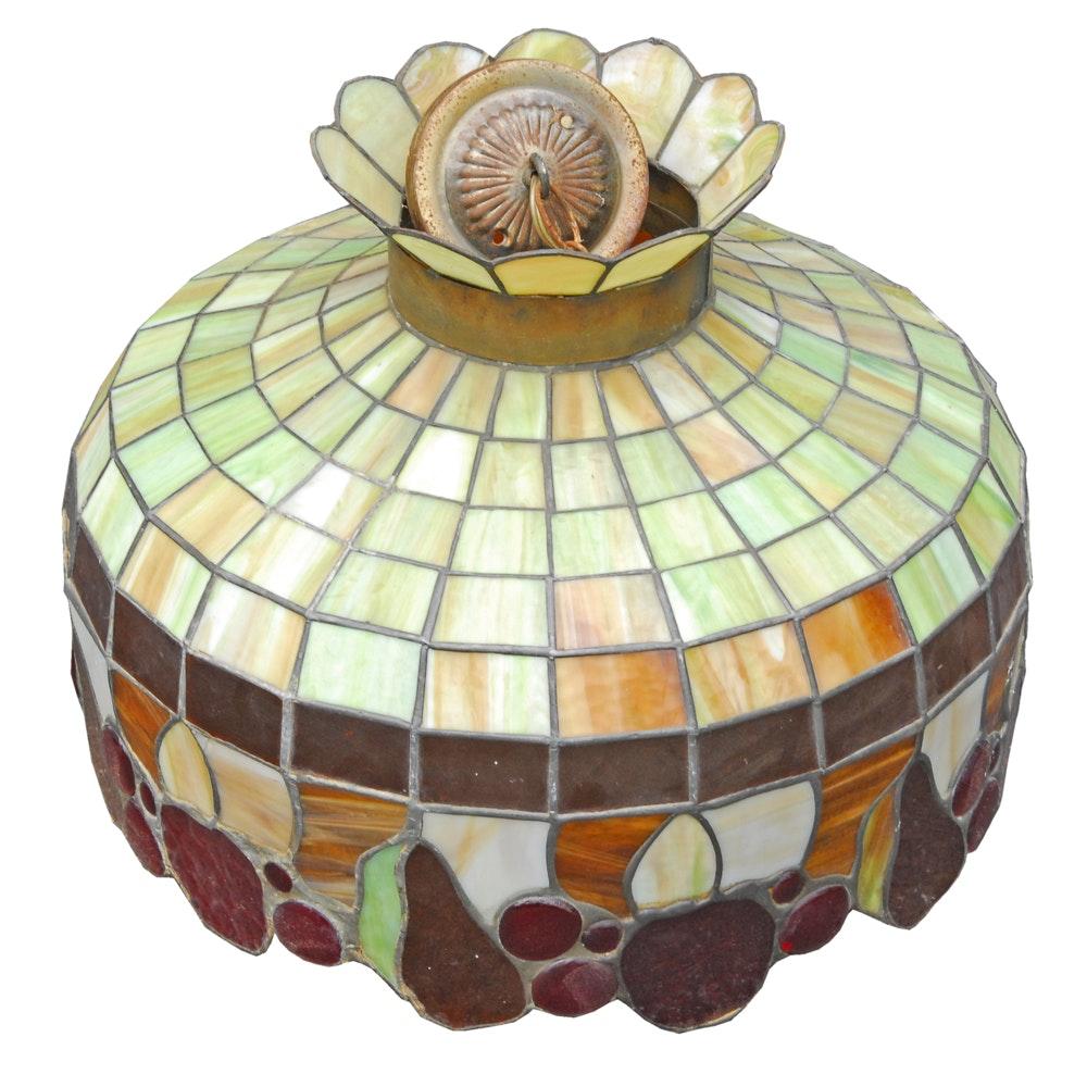 Vintage Slag Glass Pendant Light